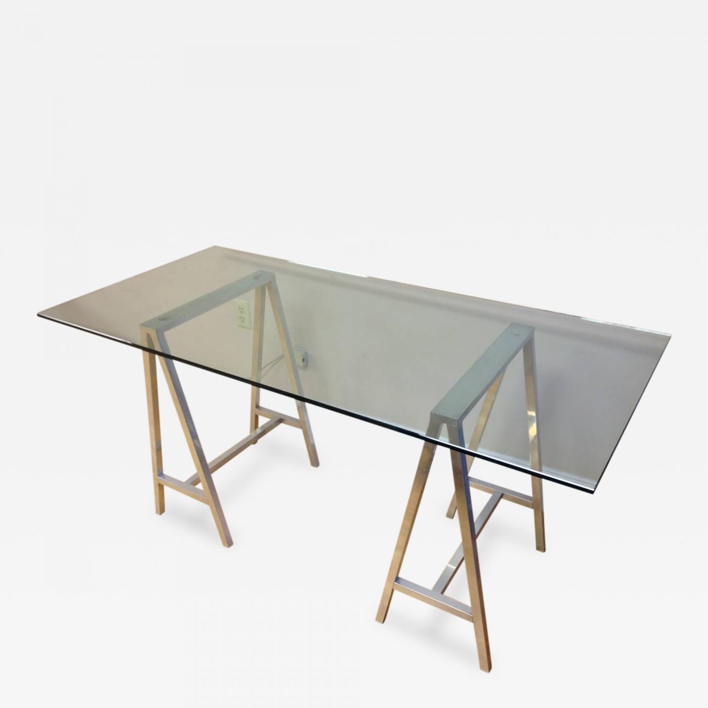 Glass Top Aluminum Saw Horse Leg Table or Desk