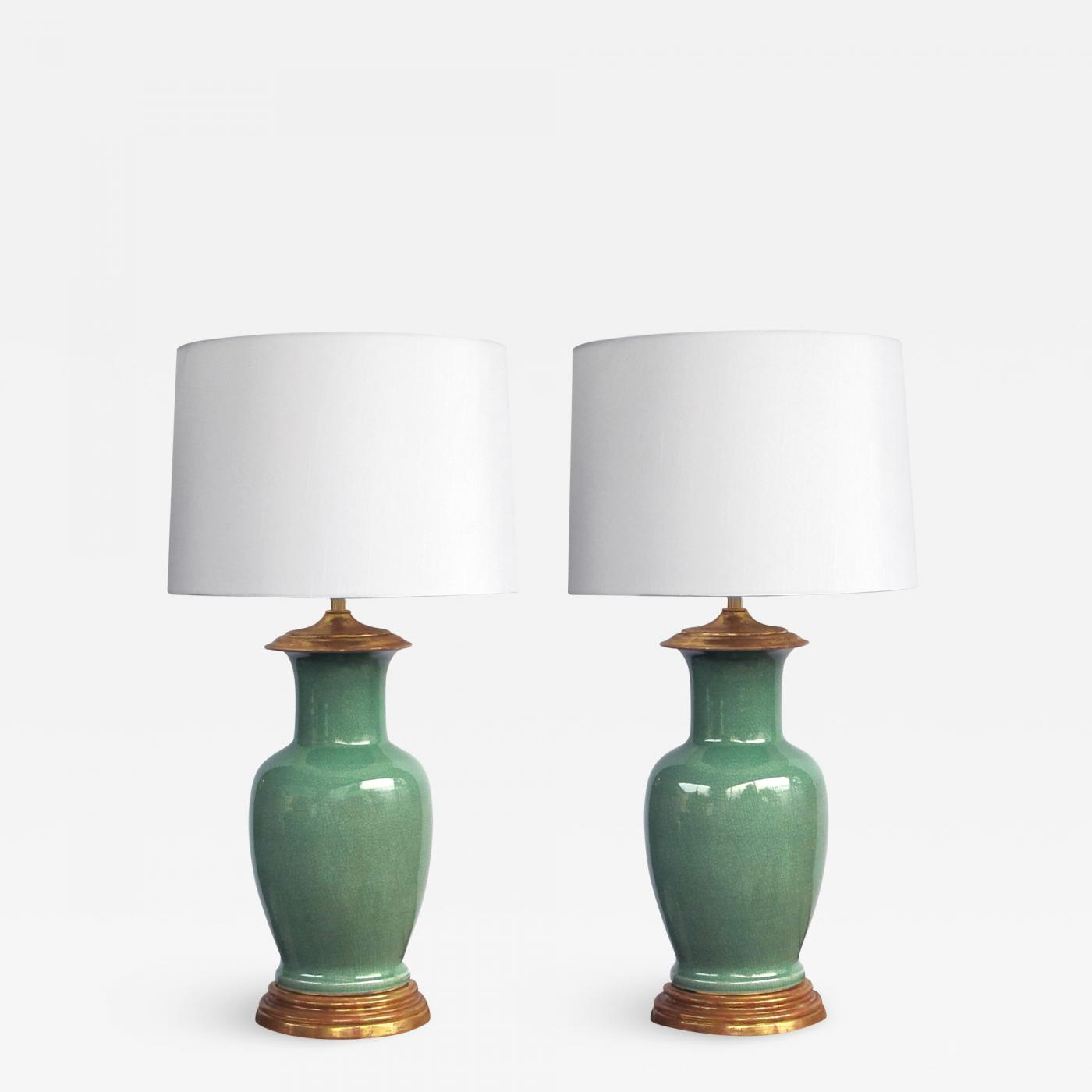 Good Quality Pair Of Vintage Celadon Crackle Glaze Lamps By Wildwood Lamp Co