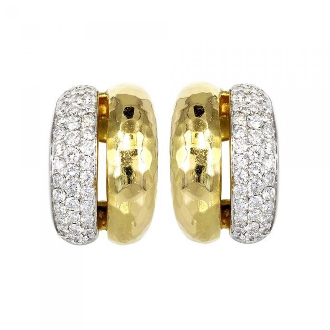 H Stern Yellow Gold & Diamond H Stern Hoops Earrings