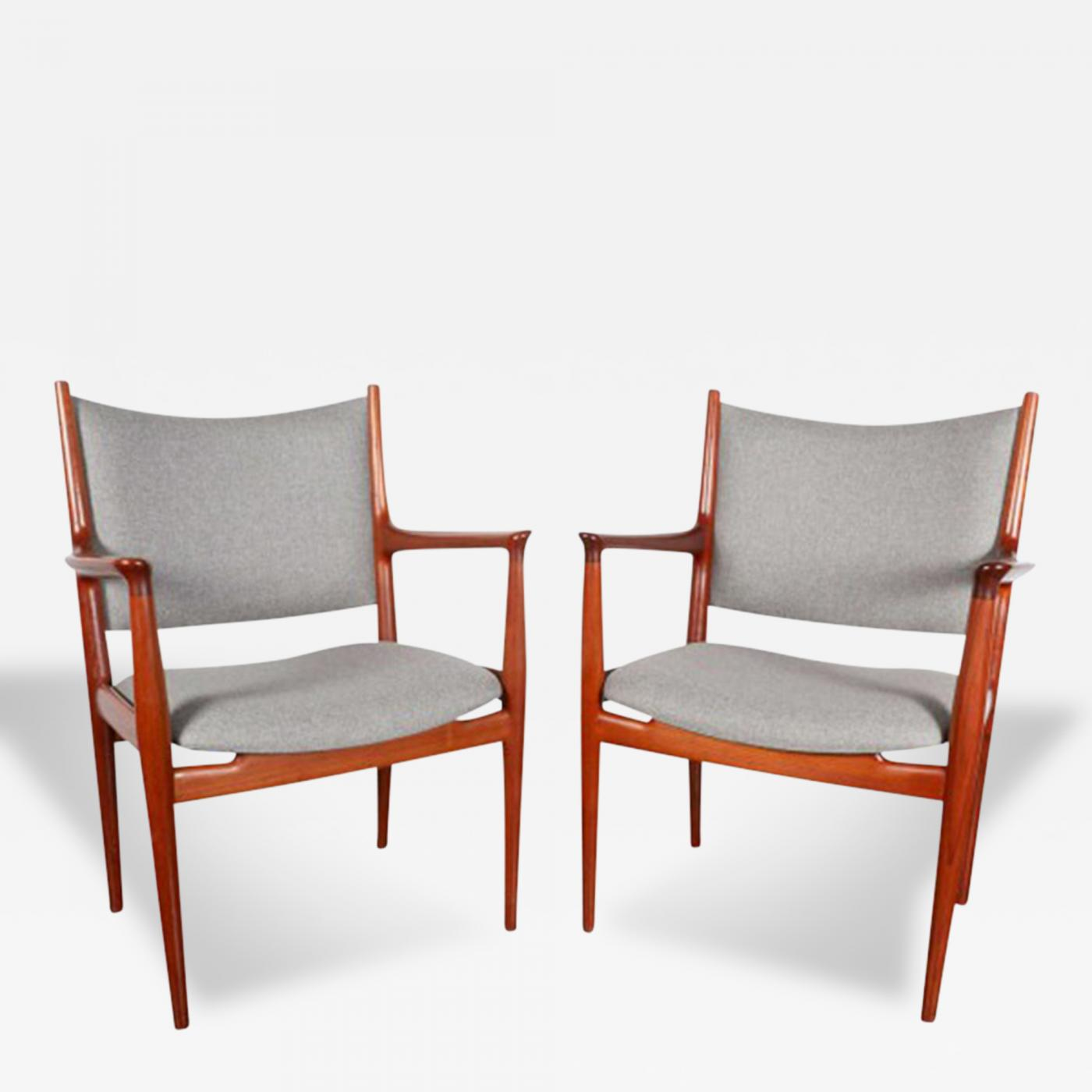 Hans J Wegner Hans Wegner JH 513 Cashmere and Teak Arm Chairs