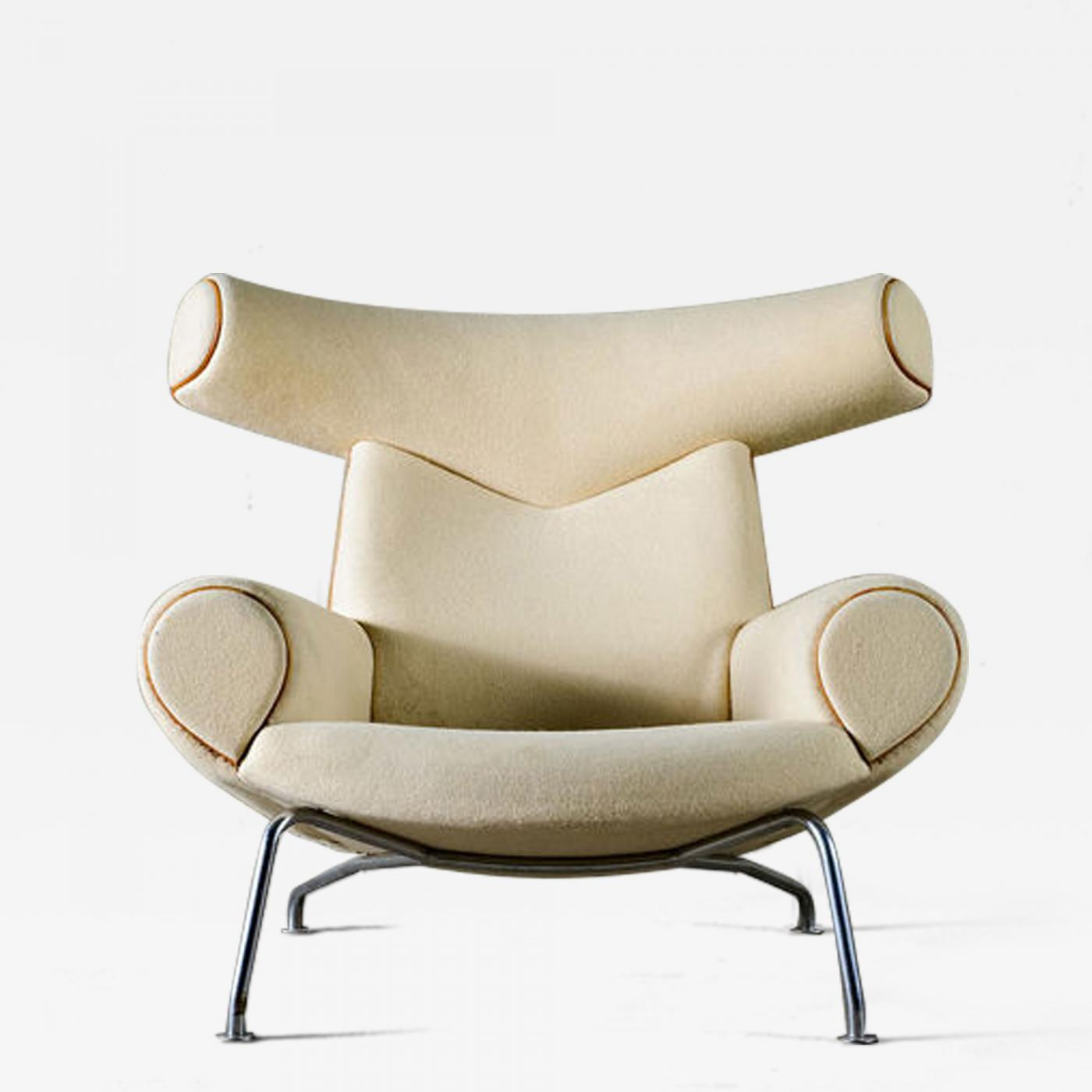 ... Wegner Ox Chair In White Mohair. Tap To Expand