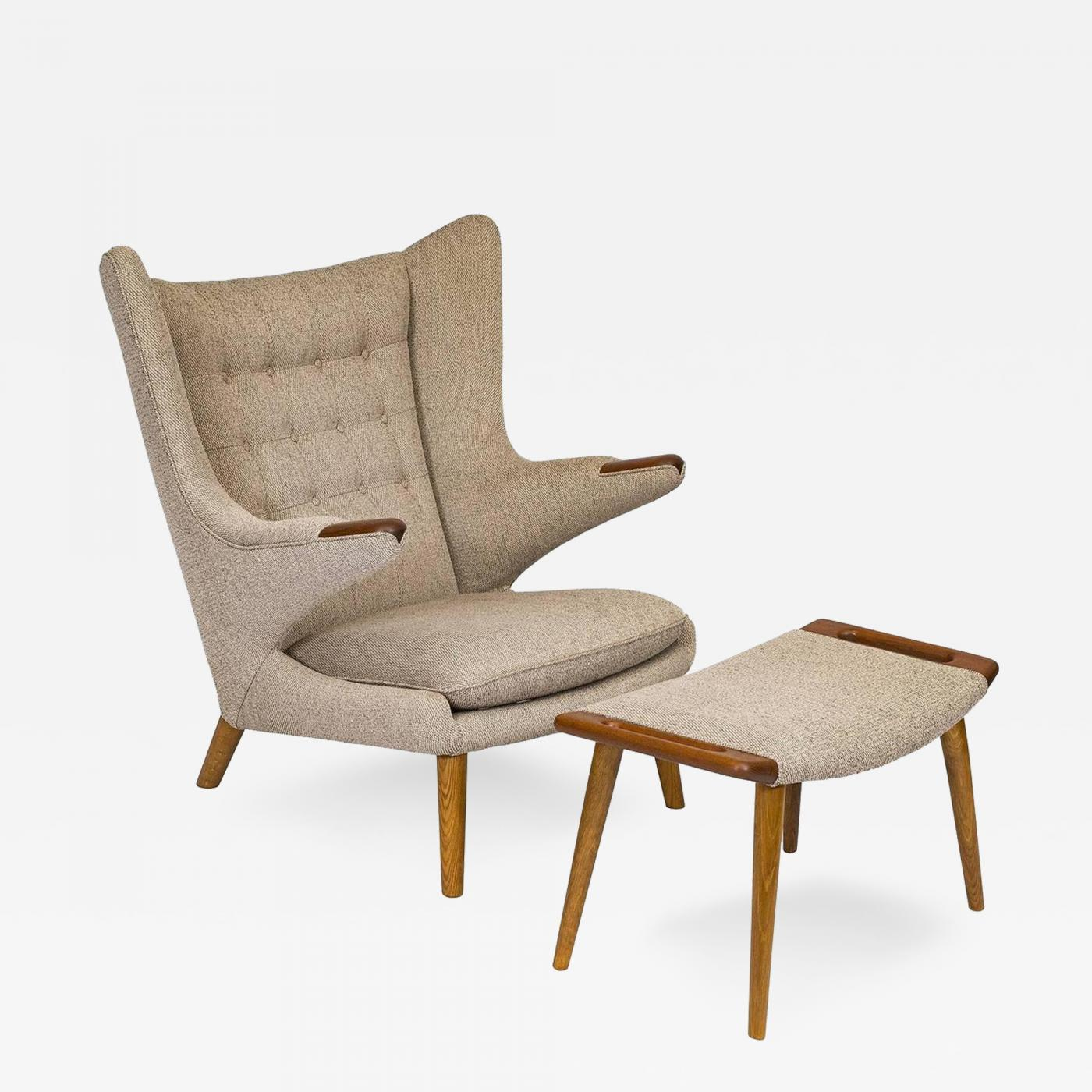 "Hans Wegner Hans Wegner ""Papa Bear"" Chair and Footstool"