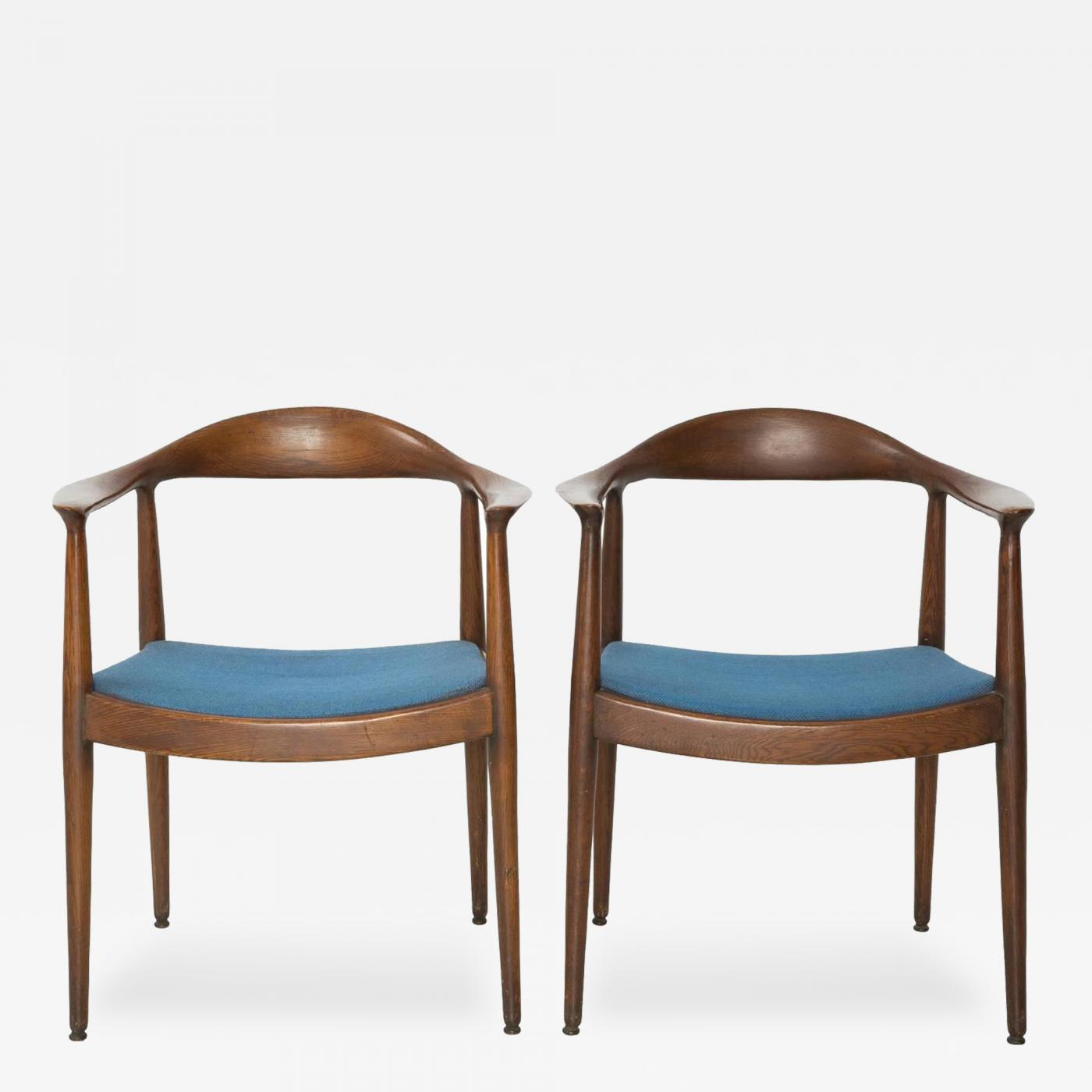 "Hans Wegner Pair of Blue Danish Modern Chairs Attributed to ""The"