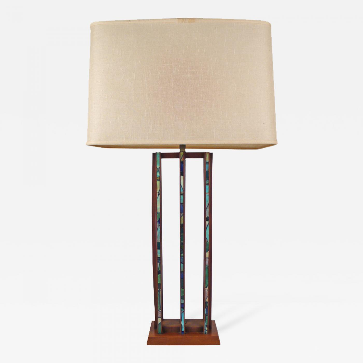 Harris Strong Teak And Tile Inlay Table Lamp By Harris
