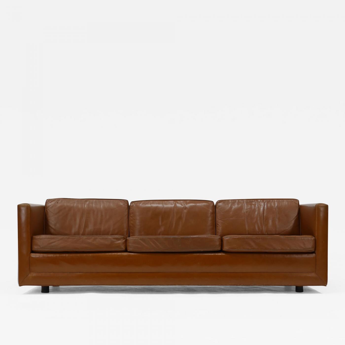 Harvey Probber Leather Tuxedo Sofa by Harvey Probber