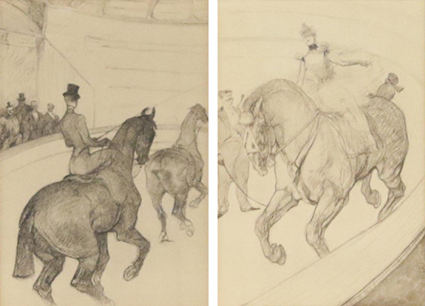 Henri De Toulouse Lautrec Lautrec Pencil Drawing Diptych Of Figures Riding Horses In A Gilt Frame