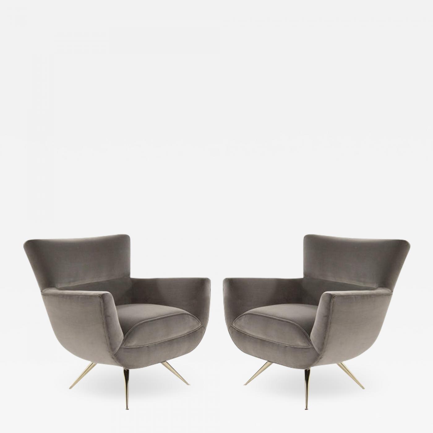 Henry P Glass Mid Century Modern Swivel Chairs By Henry Glass In Grey Velvet