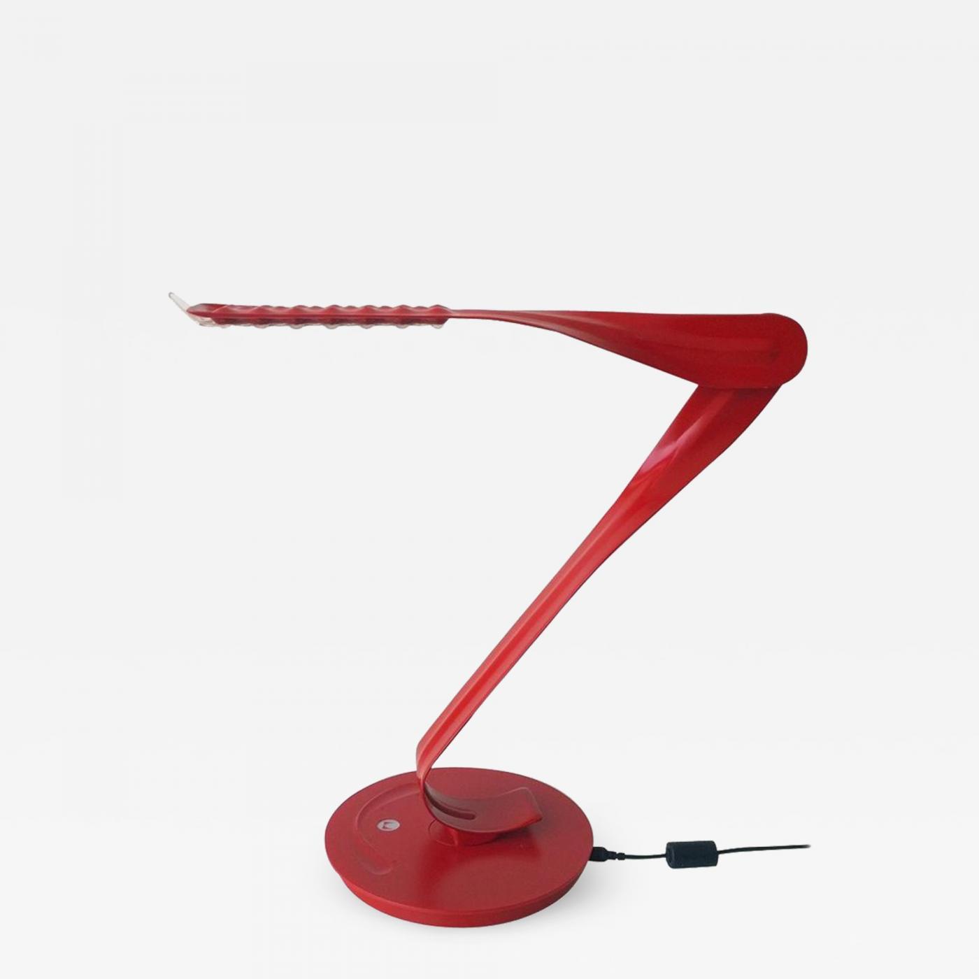 20th 21st Century Modern Red Enameled Signed Leaf Led Desk Lamp By Yves  Behar