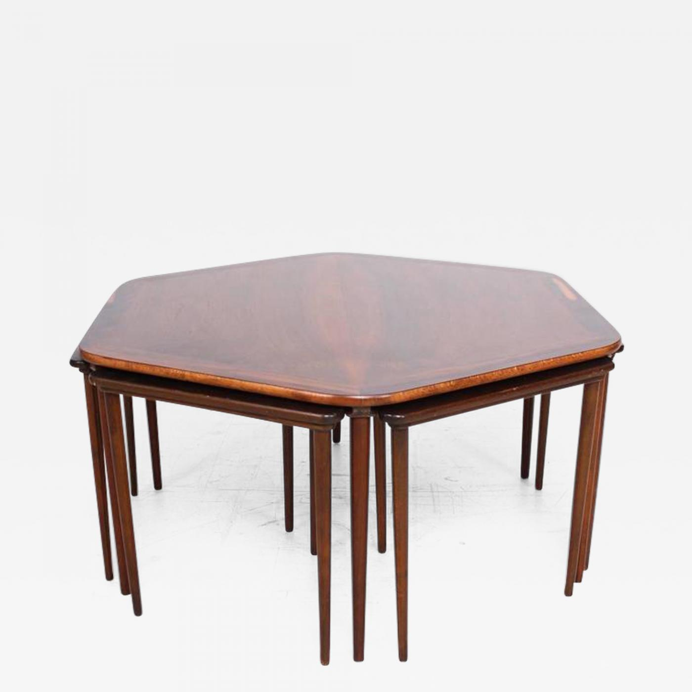 Hexagon Coffee Table And Nesting Tables Danish Mid Century