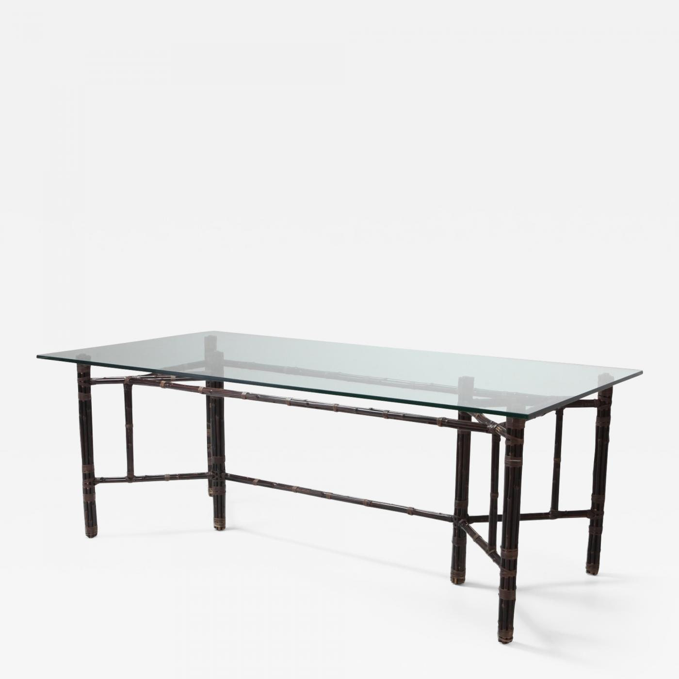 Picture of: Hollywood Regency Bamboo Dining Table With Glass Top 1970s