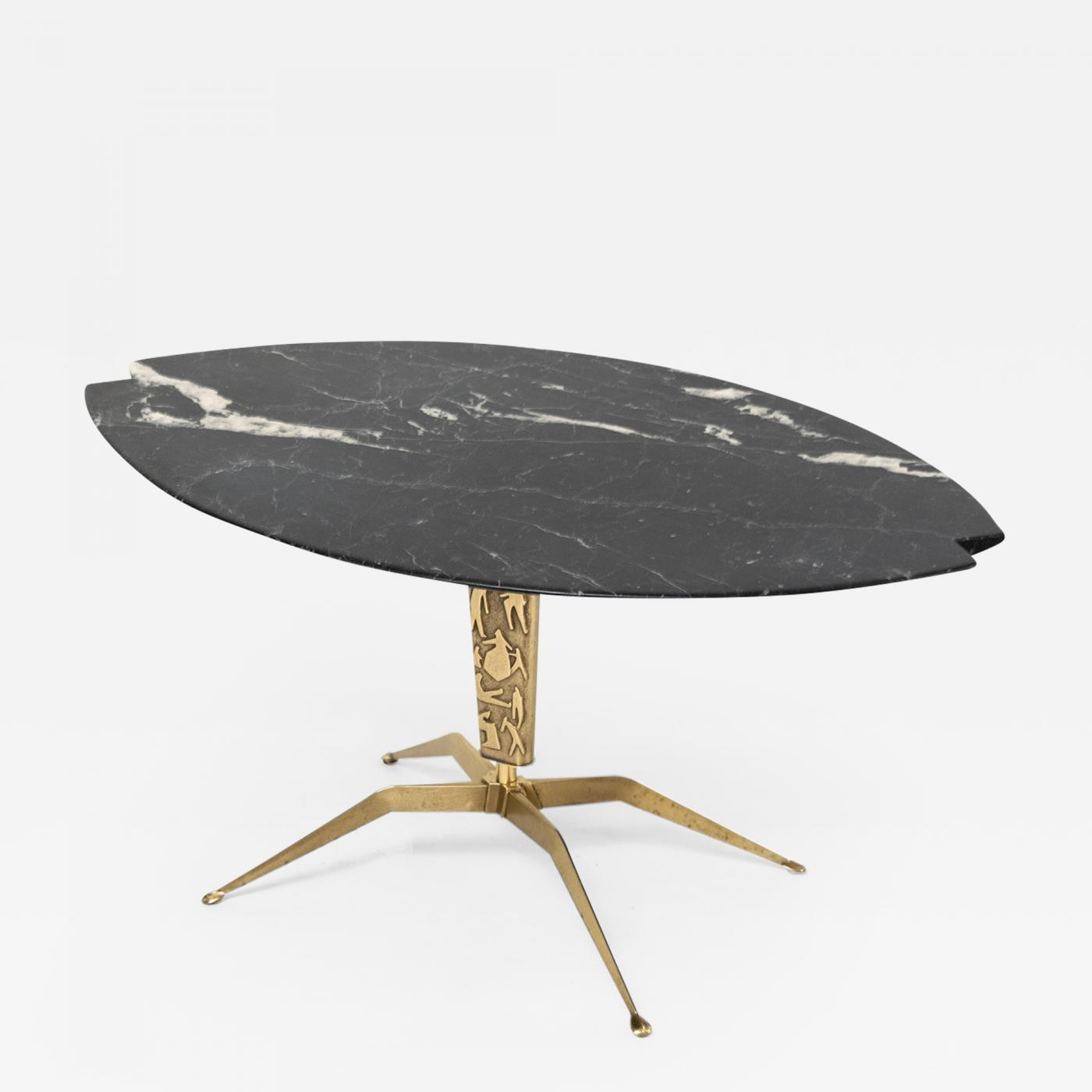 Image of: Italian Mid Century Coffee Table With Notched Black Marble Top