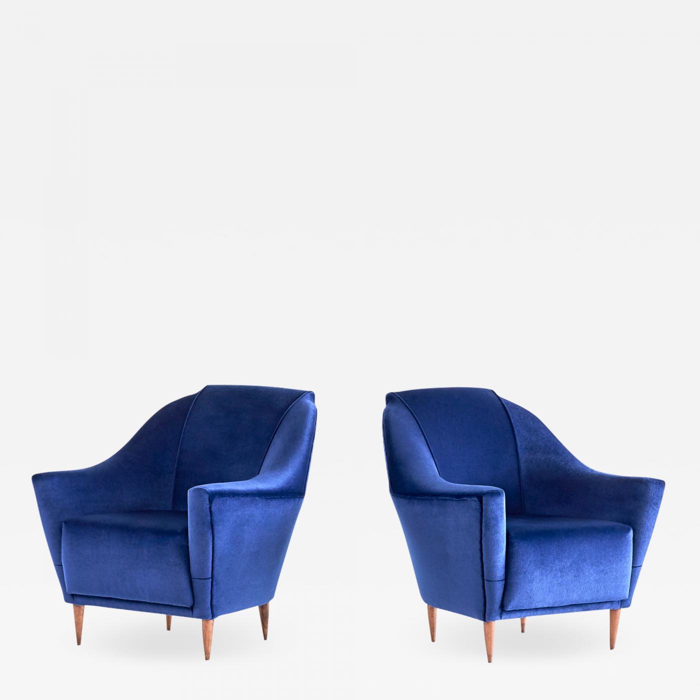 Studio Parisi E Associati Milano pair of ico parisi armchairs in blue mohair velvet, 1951