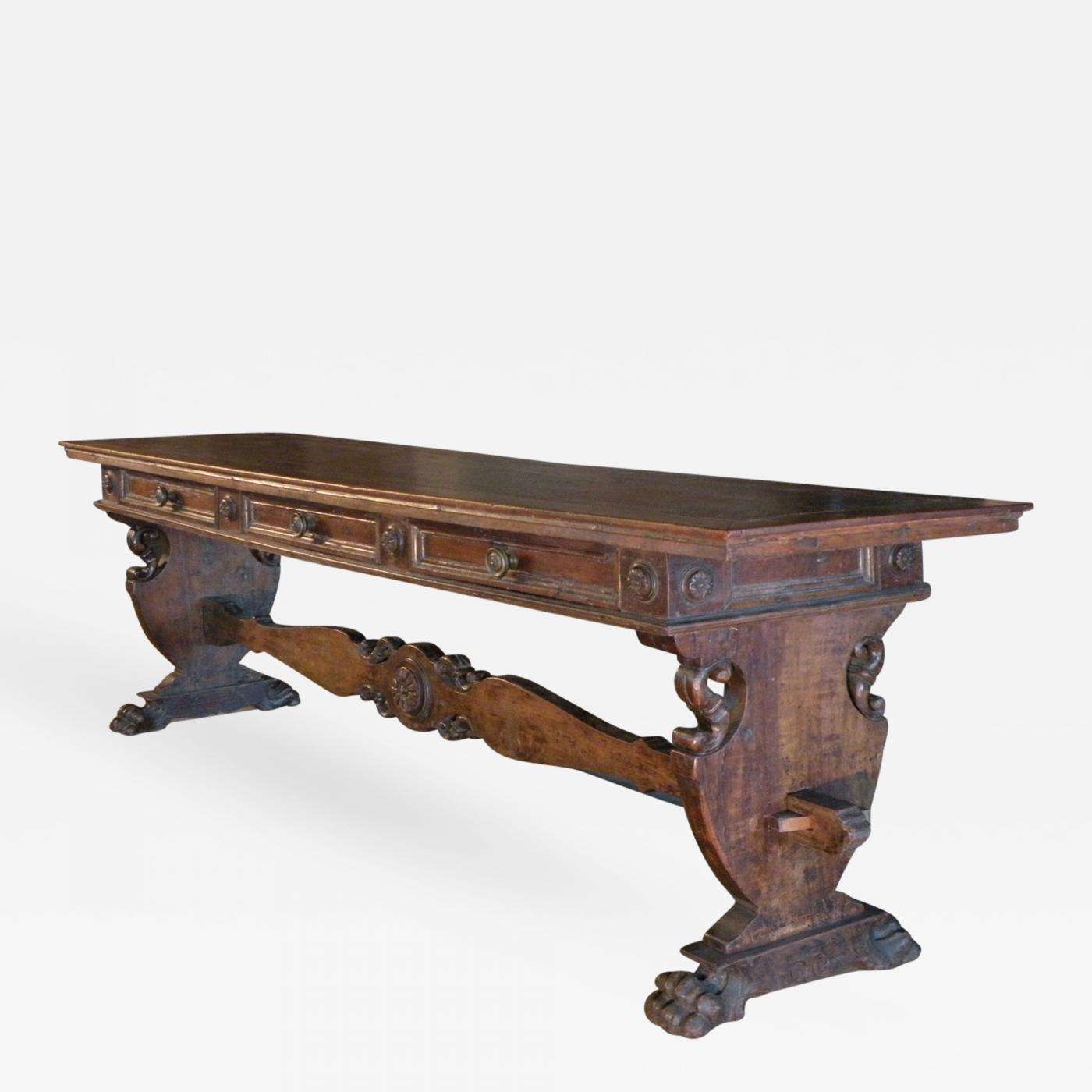 Italian 16th century renaissance walnut library center console listings furniture tables center tables italian 16th century renaissance walnut library center console table geotapseo Choice Image