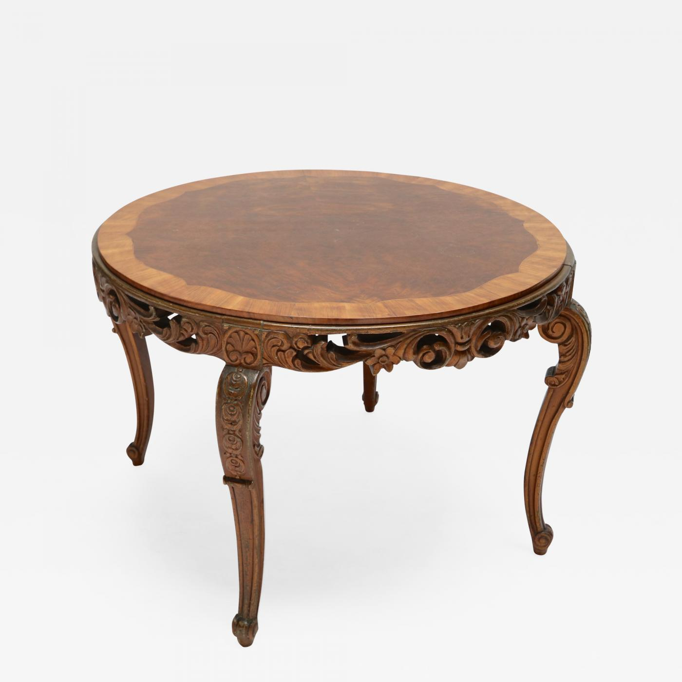 Italian 1920s Carved Wood Coffee Table: carved wood coffee table