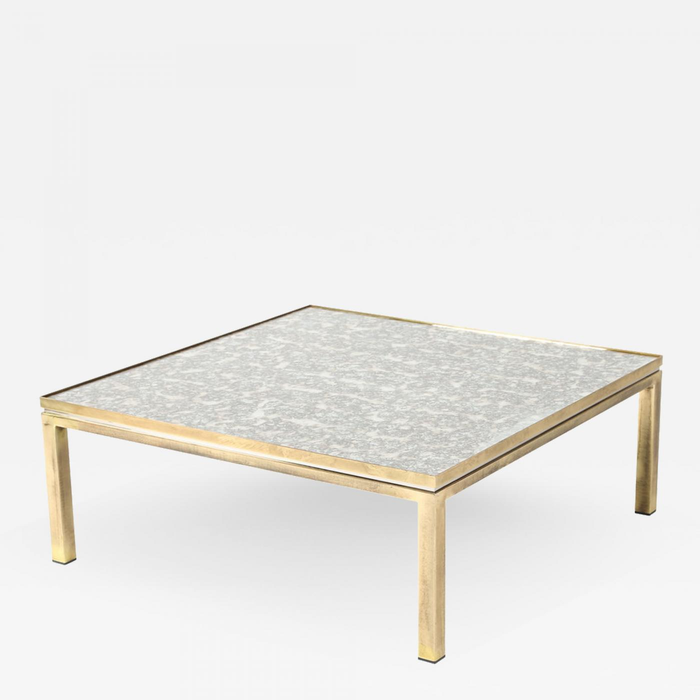 Picture of: Italian Brass Chrome And Antiqued Mirror Coffee Table