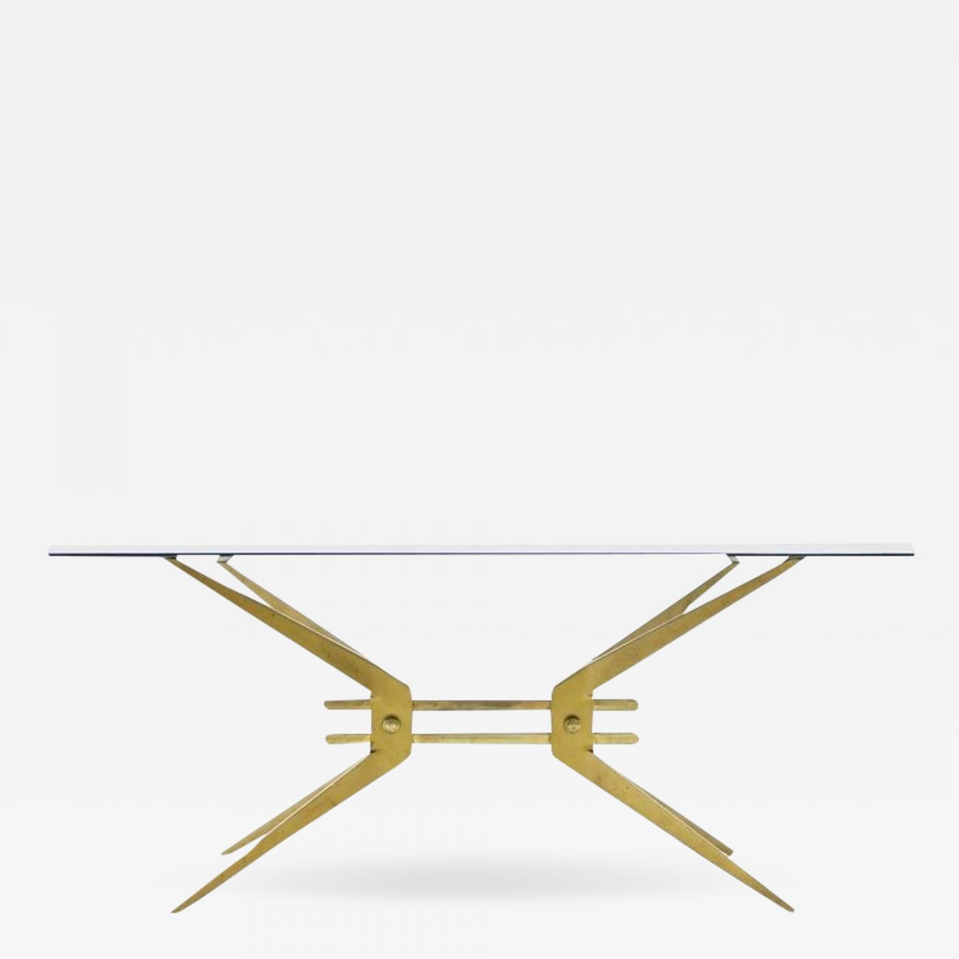 Excellent Italian Coffee Table In Brass And Glass 1950S Interior Design Ideas Clesiryabchikinfo