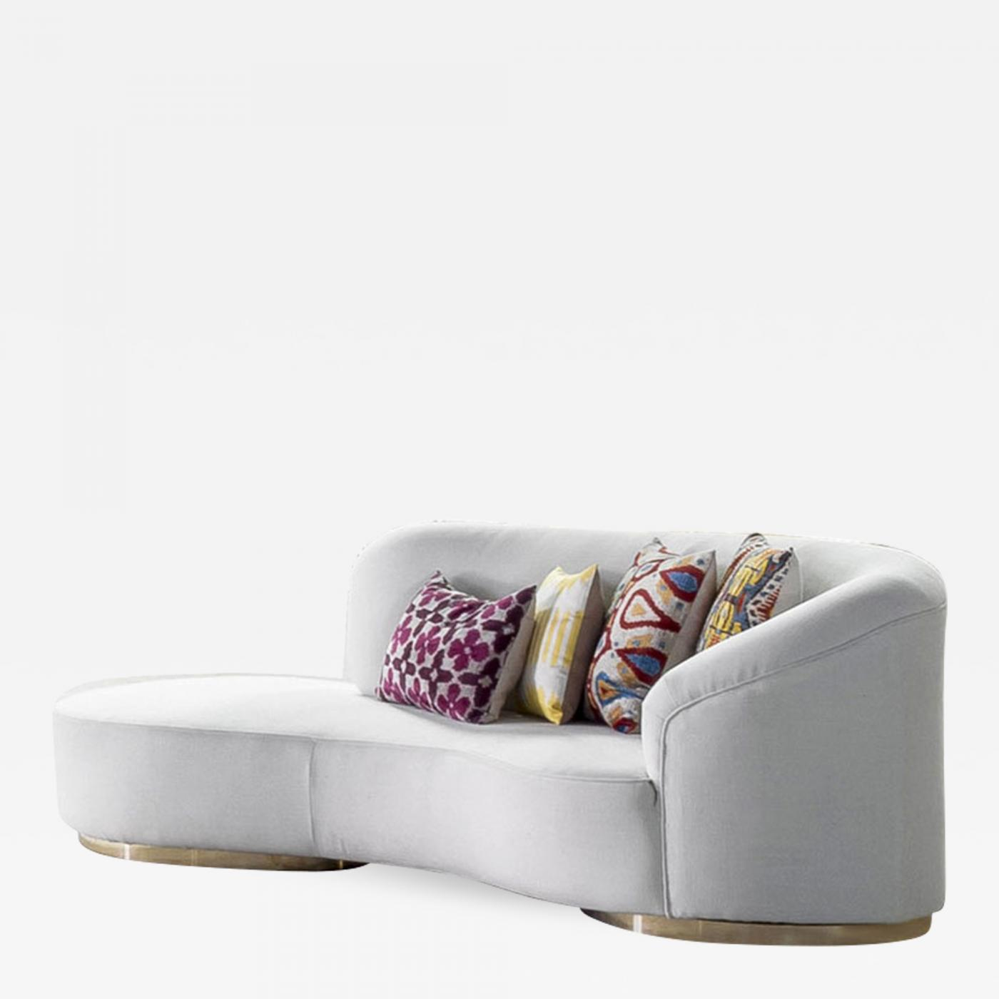Contemporary Curved White Linen And Brass Italian Sofa