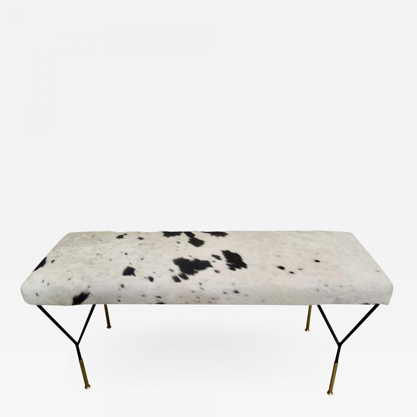 Stupendous Italian Metal And Brass Mid Century Style Bench In White And Black Cowhide Beatyapartments Chair Design Images Beatyapartmentscom