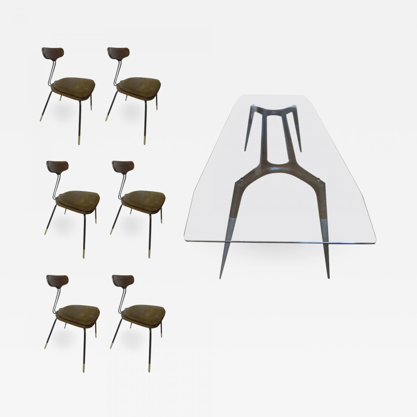 Italian Modern Dining Room Table and Six Chairs