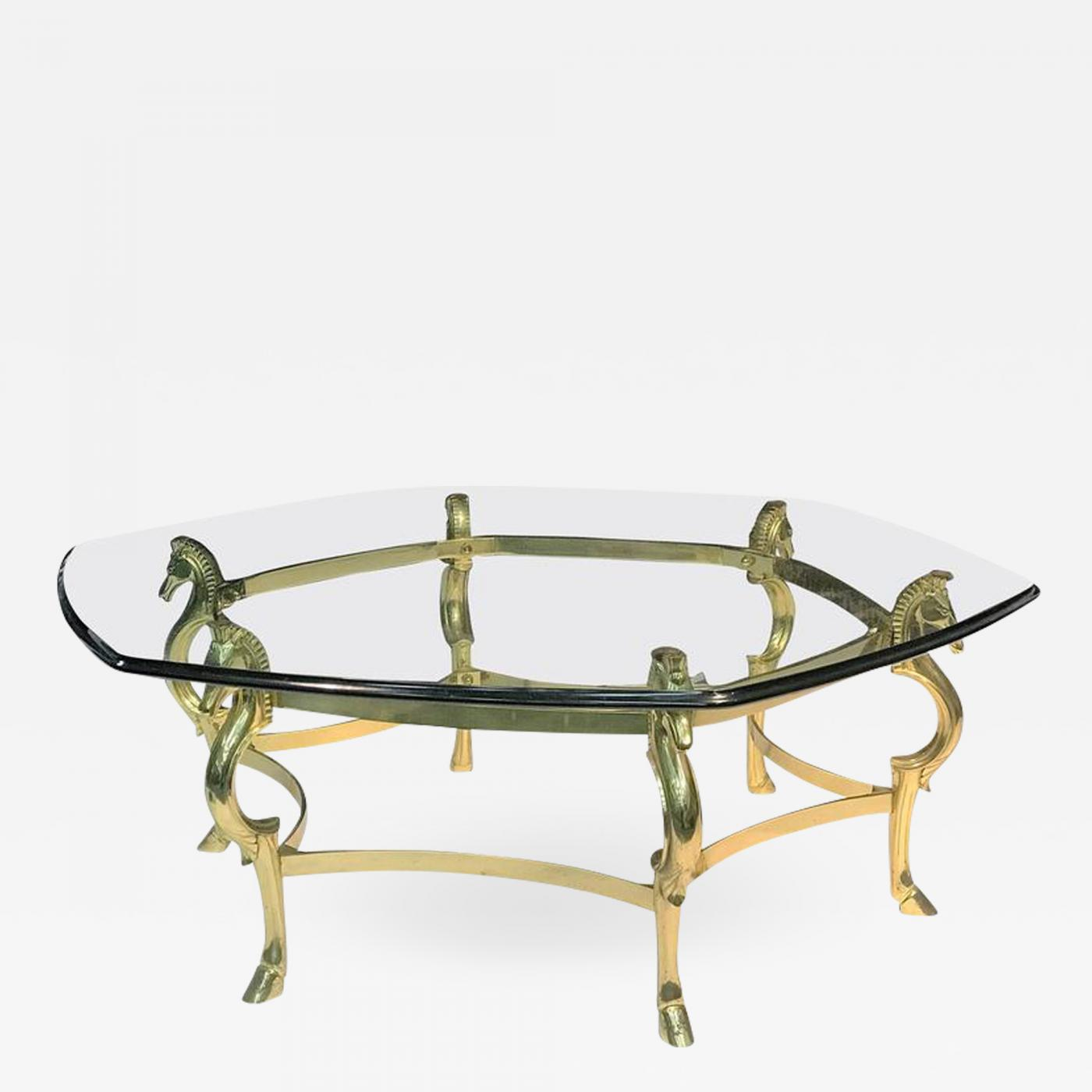 Italian Modernist Brass Seahorse Coffee Table - Seahorse coffee table