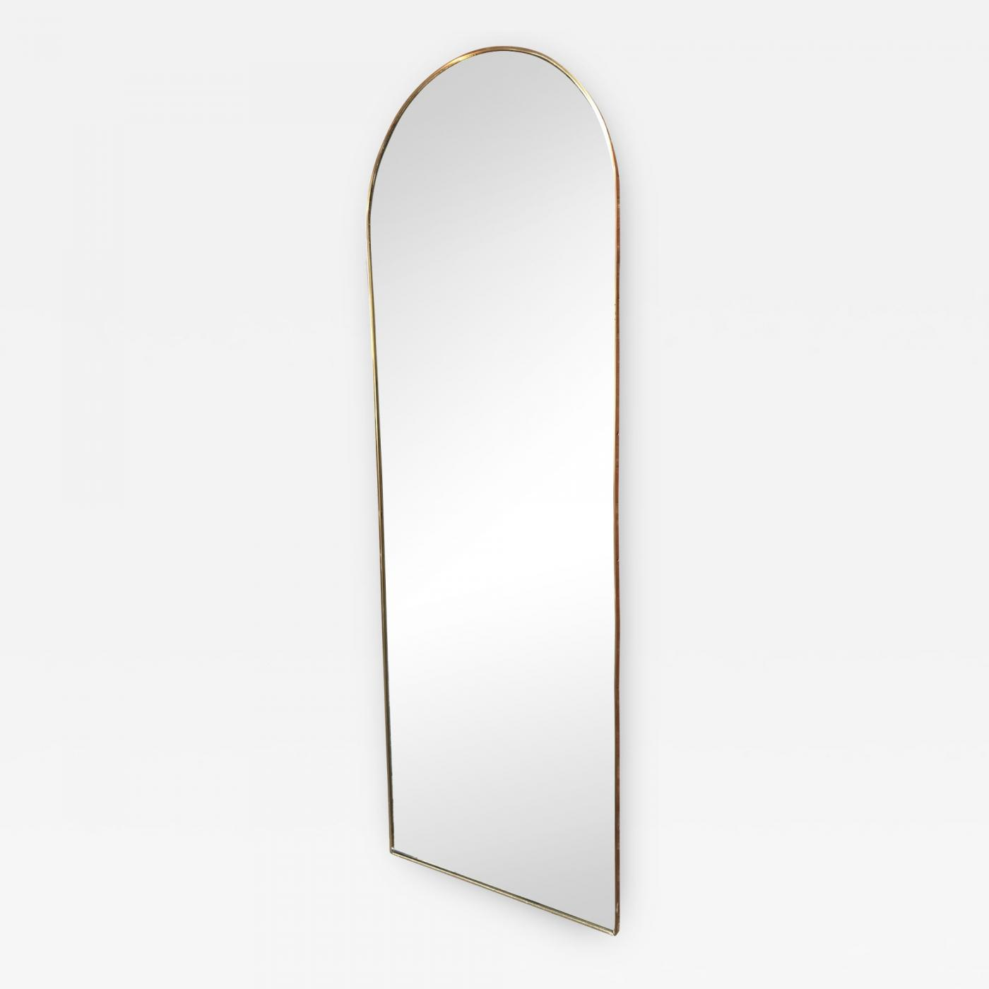 Italian Vintage Arched Shaped Brass Wall Mirror 1950s