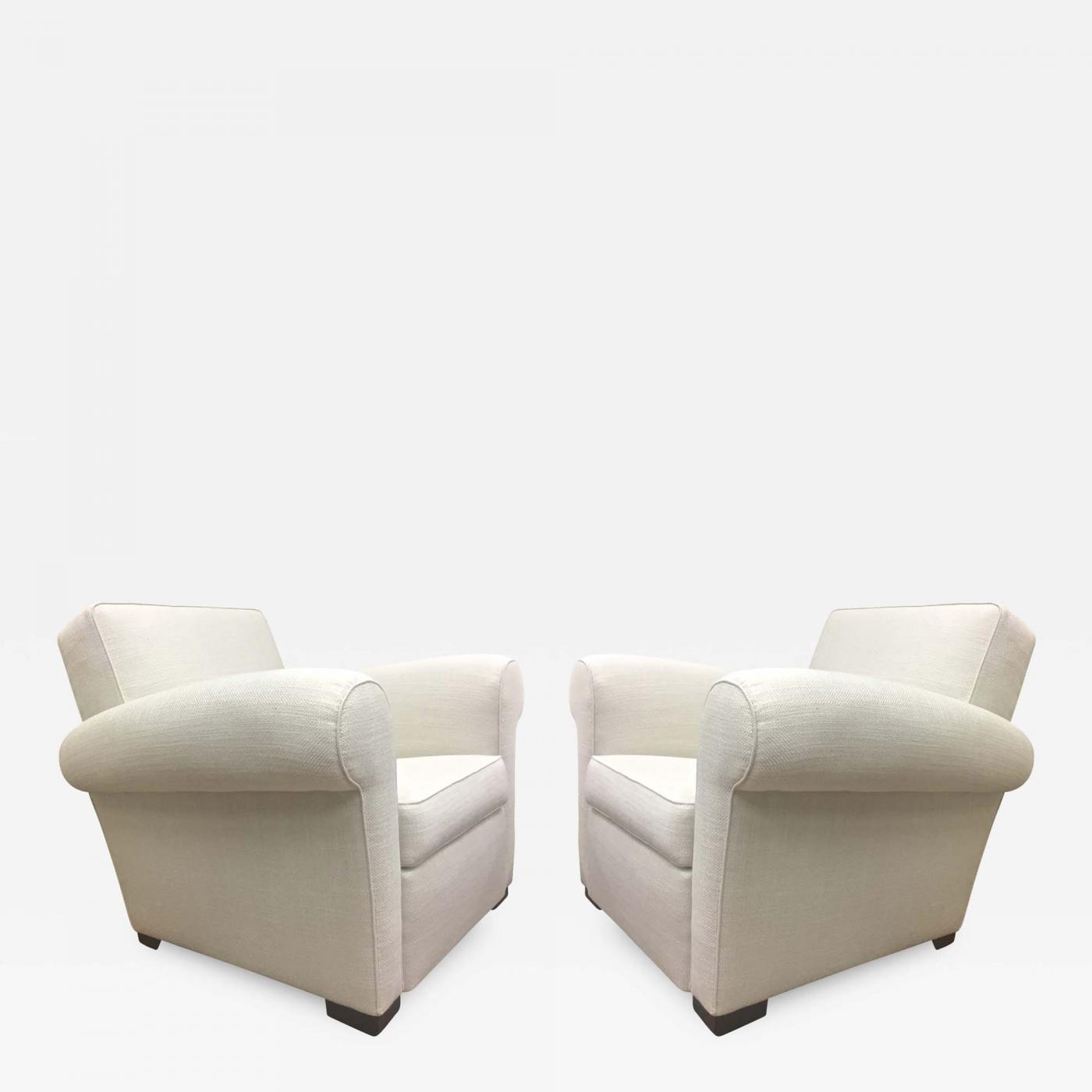 Listings / Furniture / Seating / Club Chairs & Pair of Comfortable Club Chairs in the style of Jacques Adnet