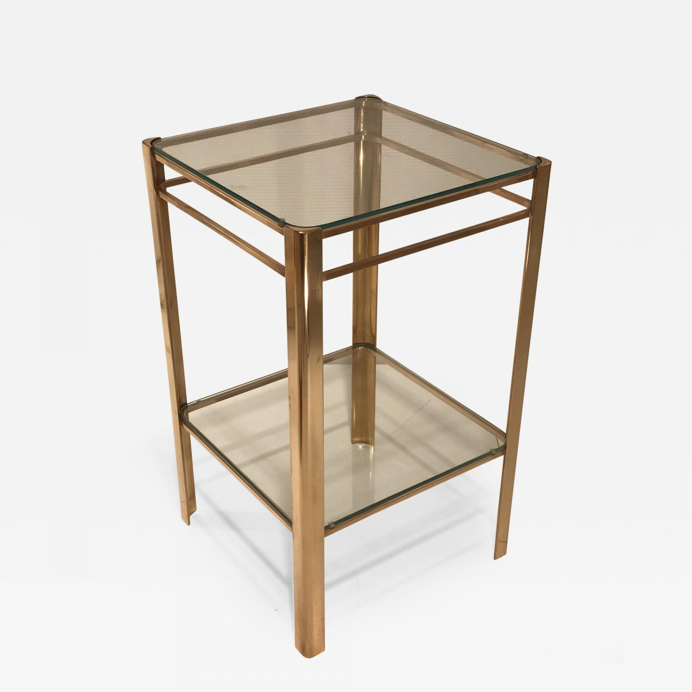 Jacques Quinet TwoTier Bronze And Glass Side Table By Jacques - Two tier glass side table