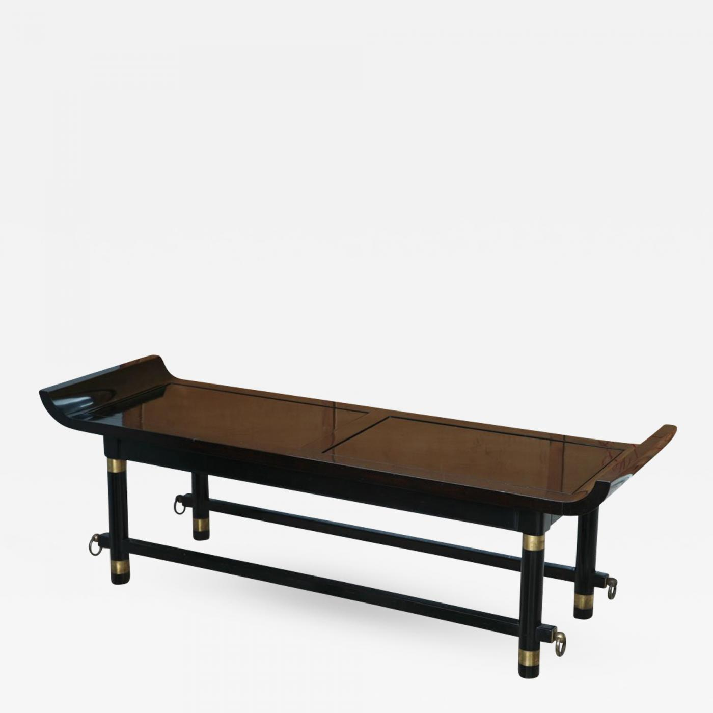 Excellent James Mont Black Lacquer And Brass Mounted Bench Probably James Mont Creativecarmelina Interior Chair Design Creativecarmelinacom
