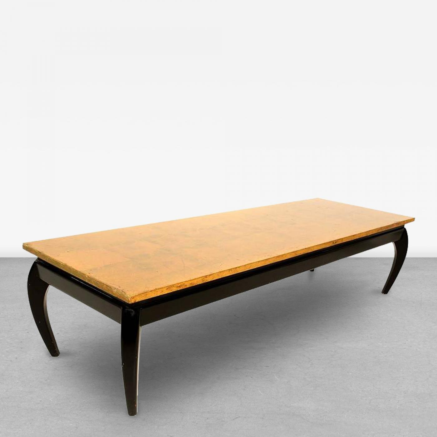 Gold Leaf and Black Lacquer Coffee Table after James Mont