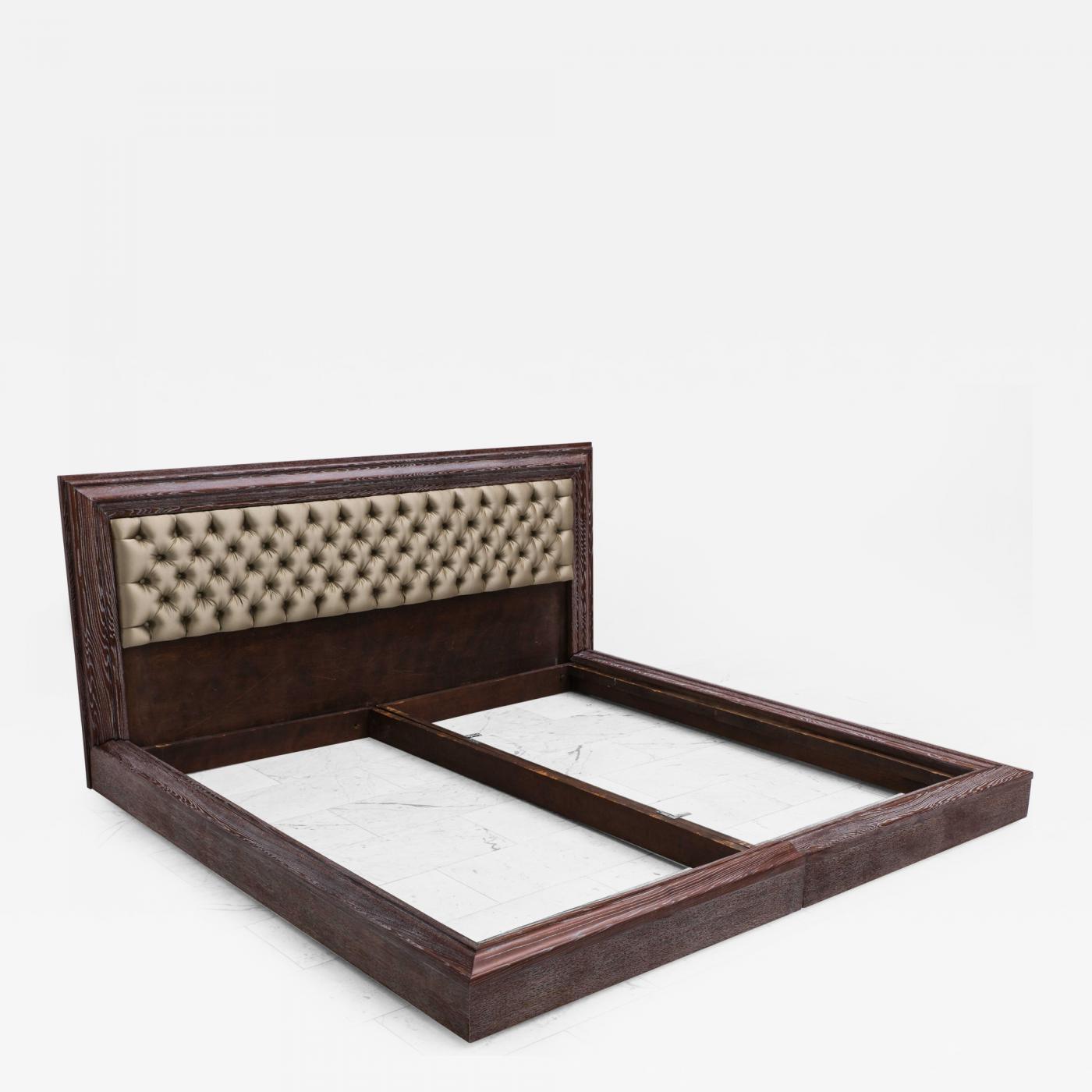 james mont james mont grey cerused fumed oak king size bed usa. Black Bedroom Furniture Sets. Home Design Ideas