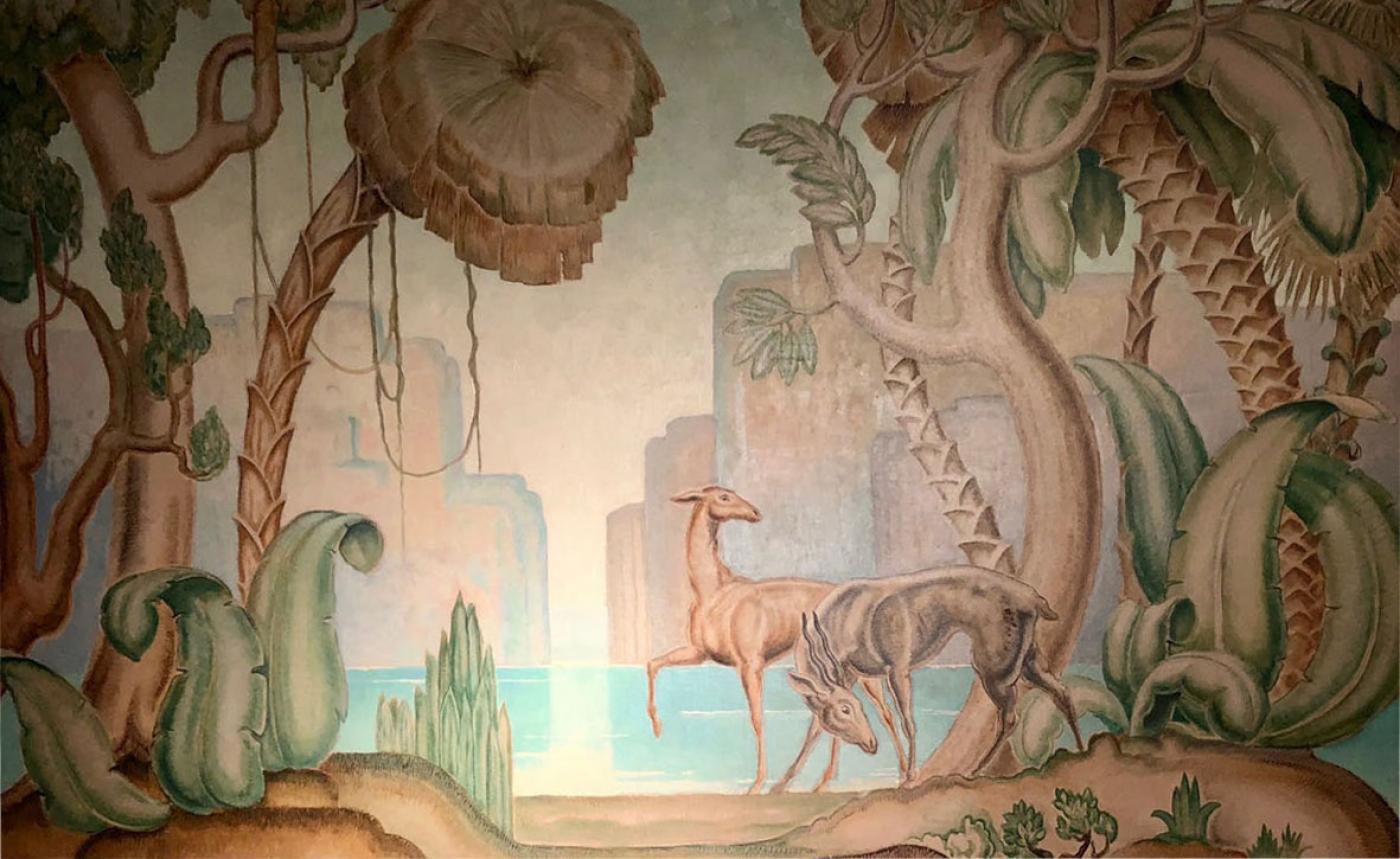 Jean Dupas Art Deco Original Painting Mural In The Style Of Jean Dupas