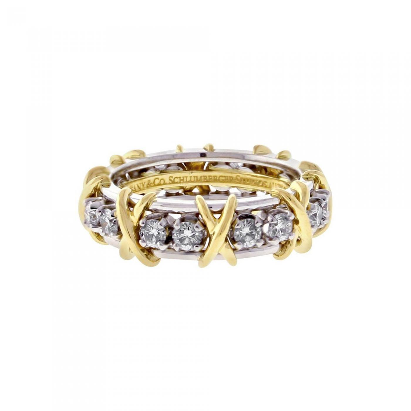 eeb6734c8 Jean Michel Schlumberger Tiffany Co Schlumberger 16 Stone Diamond Gold X  Ring. Tap to expand