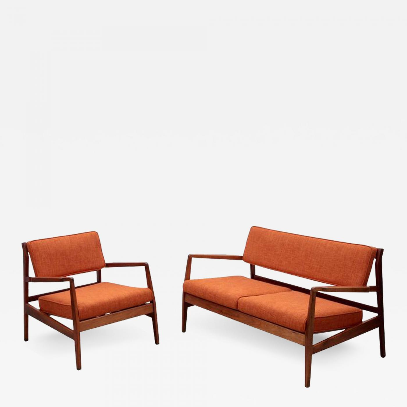 Missoni Fabric Covered Bergere Chair: New Upholstered Jens Risom Sofa Set With