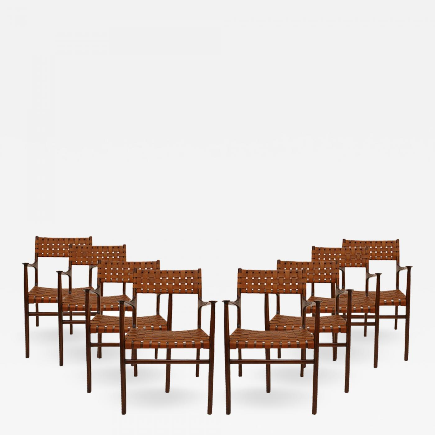 b43a161523a69 Jens Risom Mid-Century Modern Set of Eight Rosewood And Leather Chairs. USA  50s