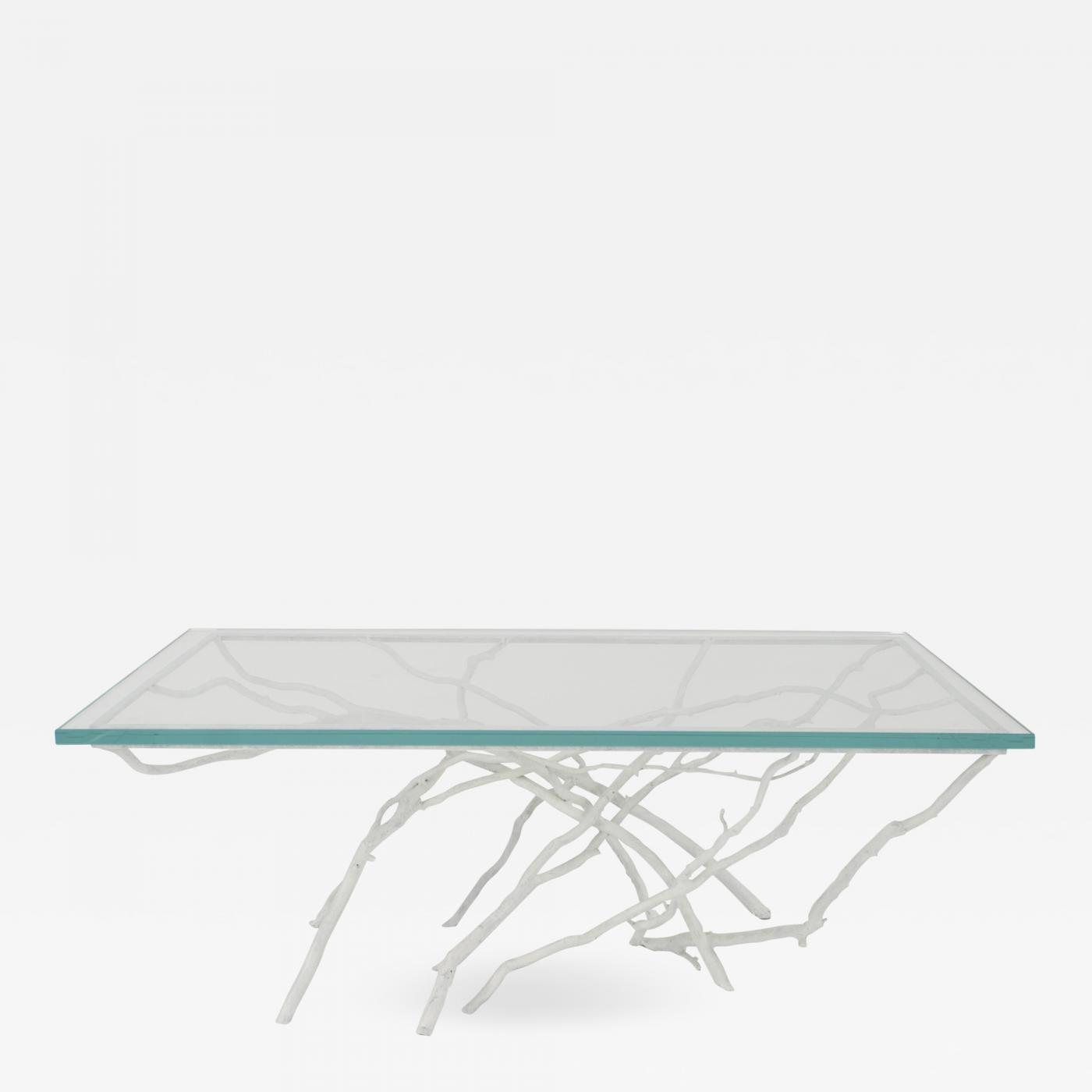Miraculous Joan Sherman Contemporary White Painted Iron Faux Twig Design Rectangular Coffee Table Machost Co Dining Chair Design Ideas Machostcouk