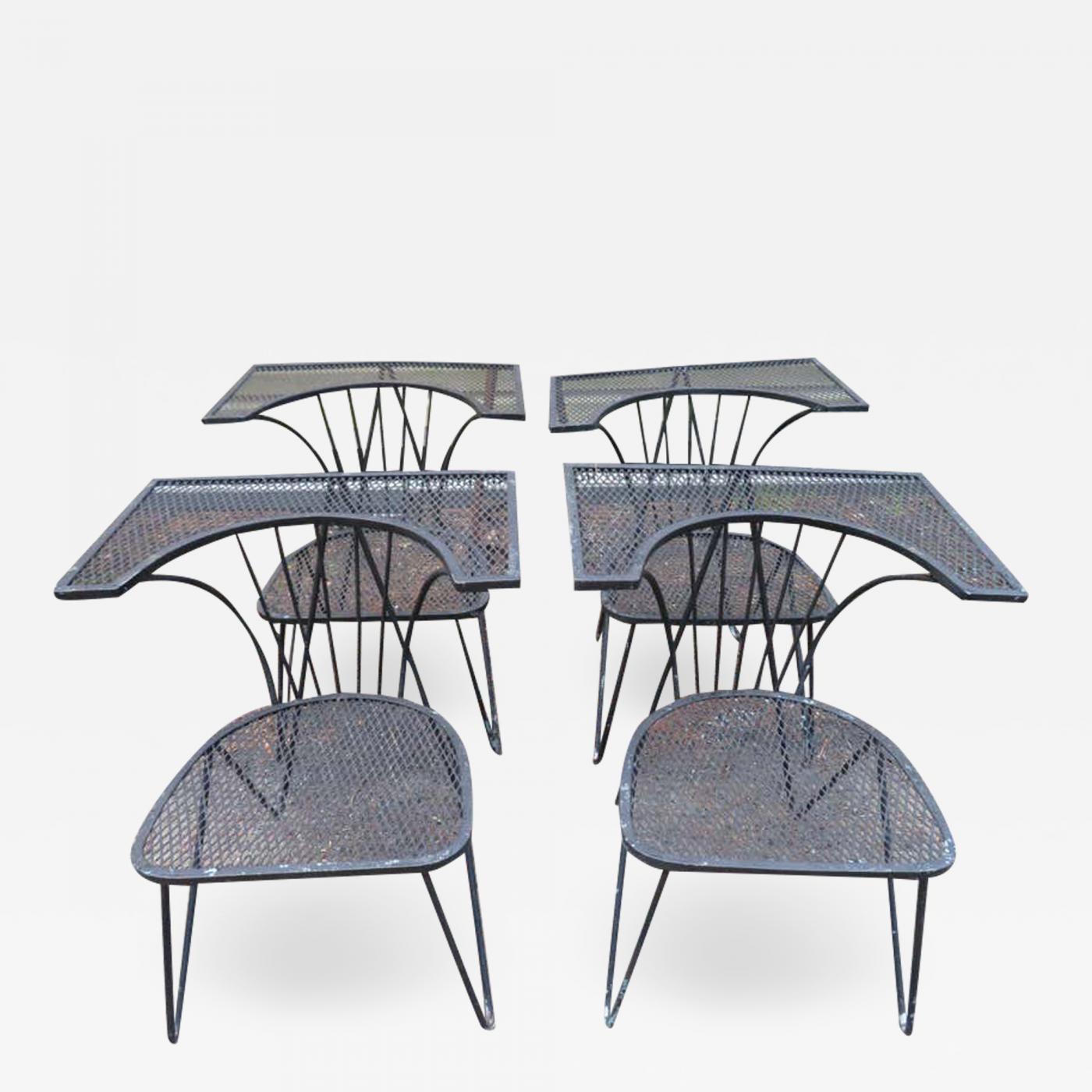 john salterini unusual set of 4 geometric salterini patio chairs mid century modern