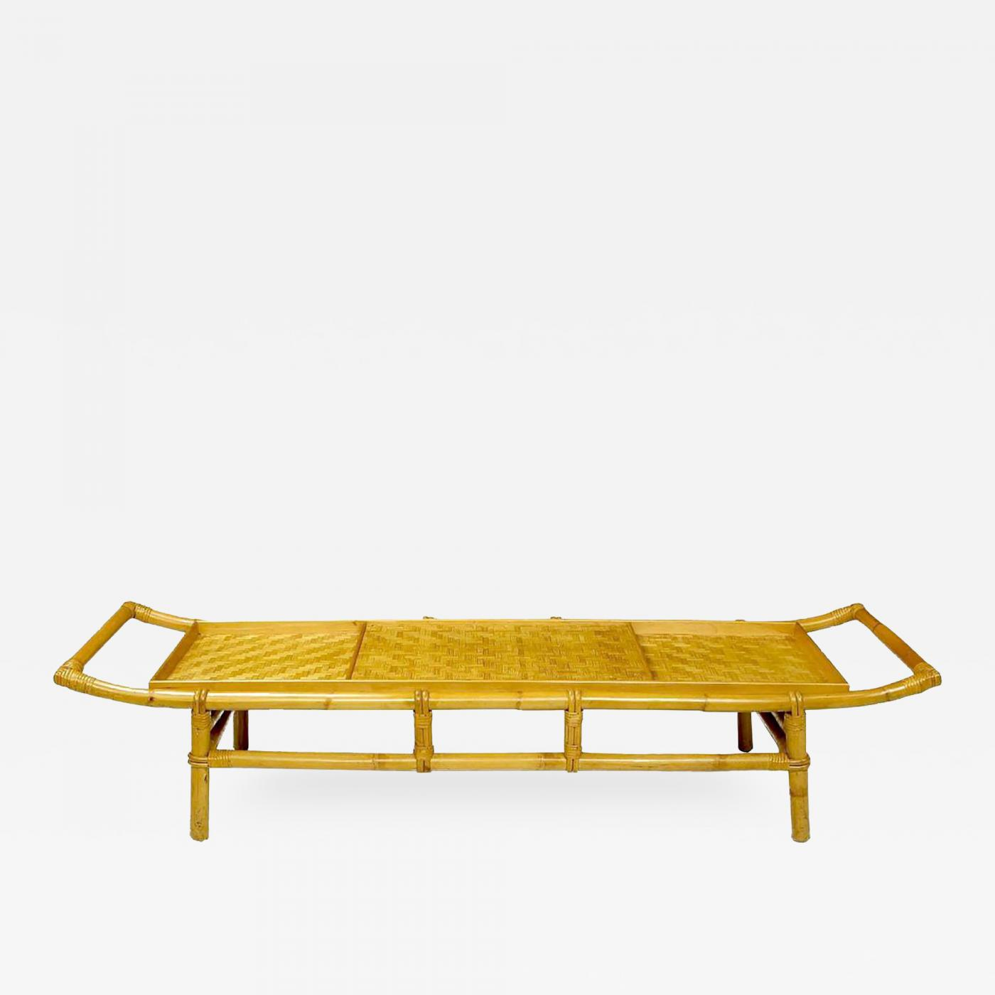 Long Bamboo Coffee Table: John Wisner Long And Low Pagoda Form Bamboo