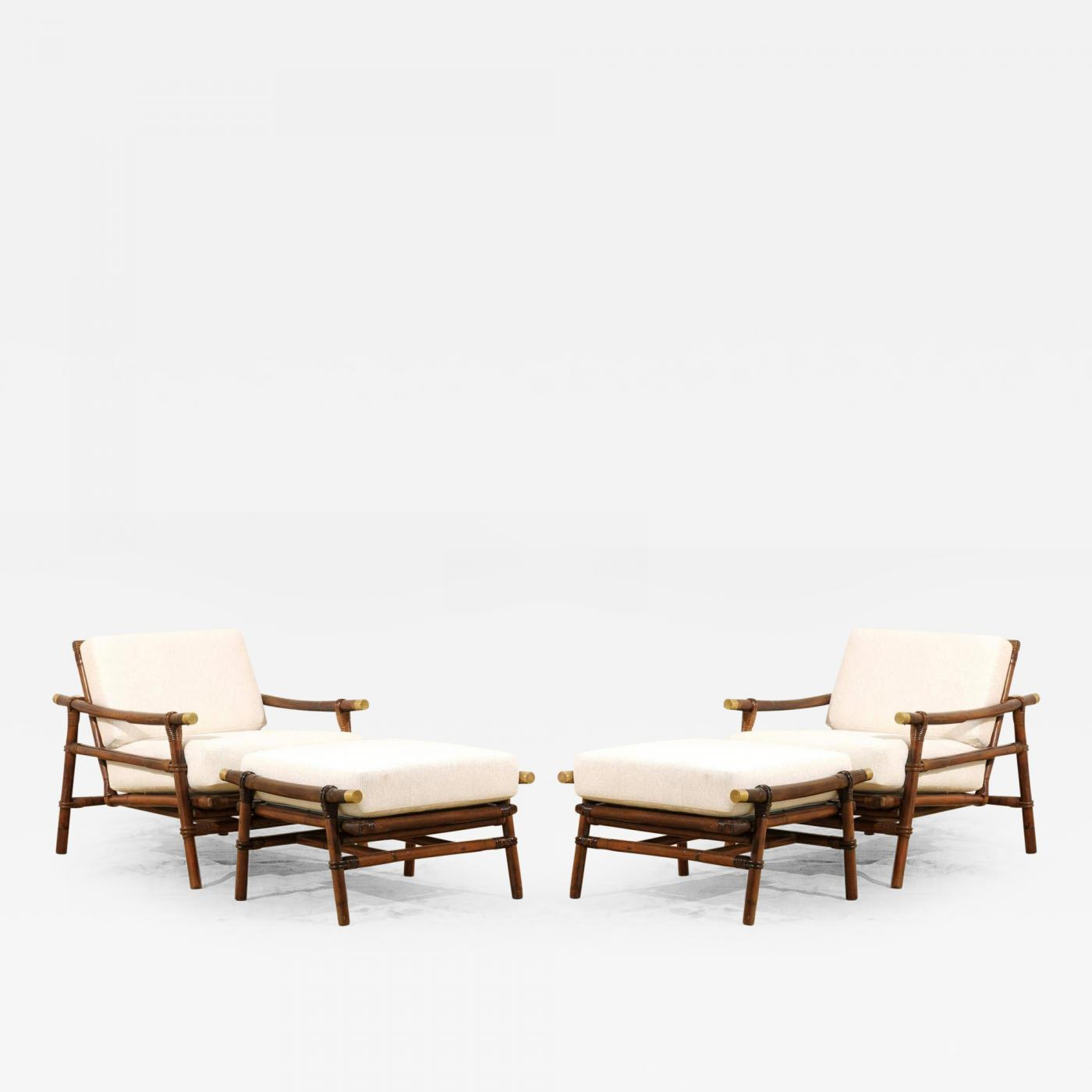 John Wisner Superb Pair of Campaign Lounge Chairs and Ottomans