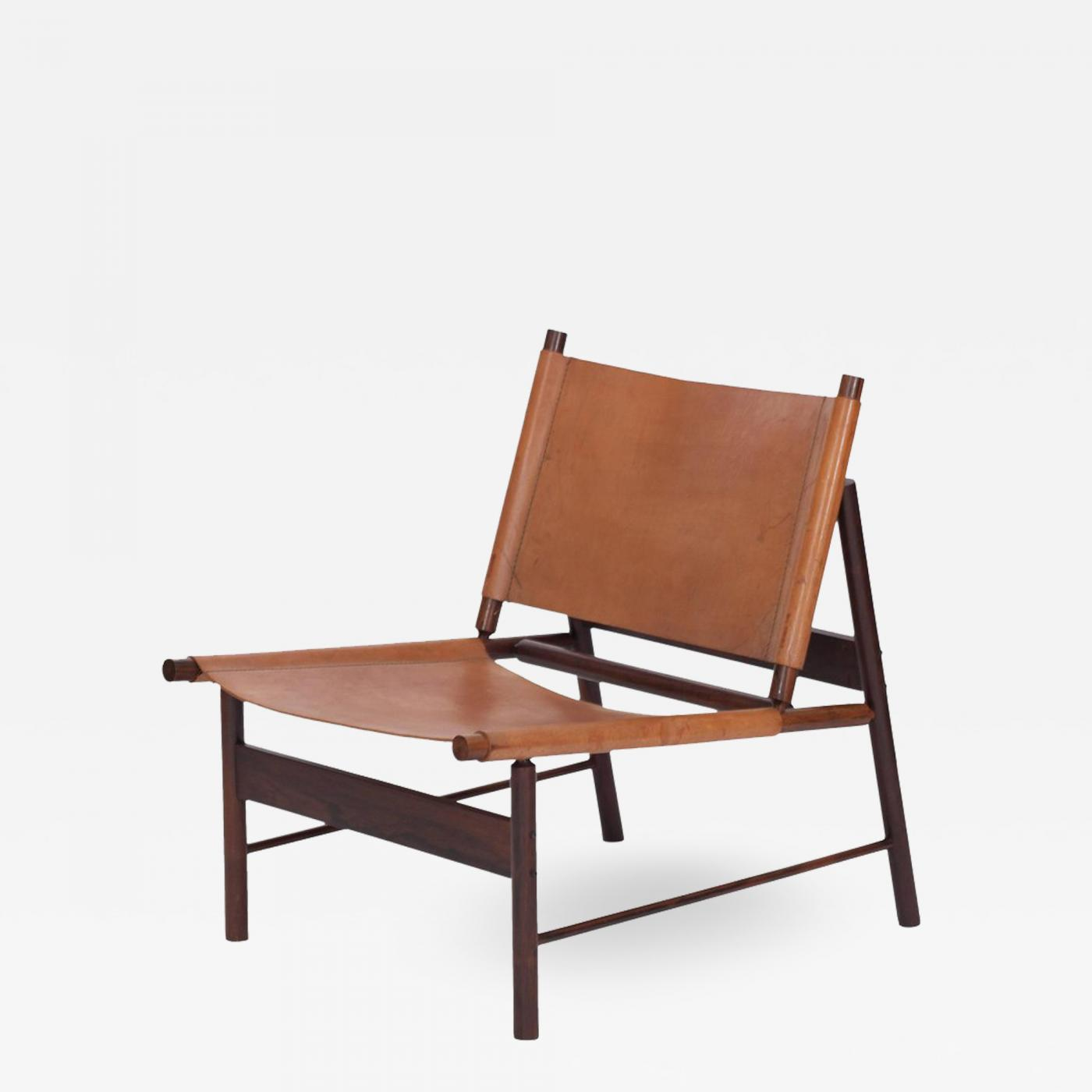 Rosewood and cognac leather lounge chair by jorge zalszupin brazil 1955