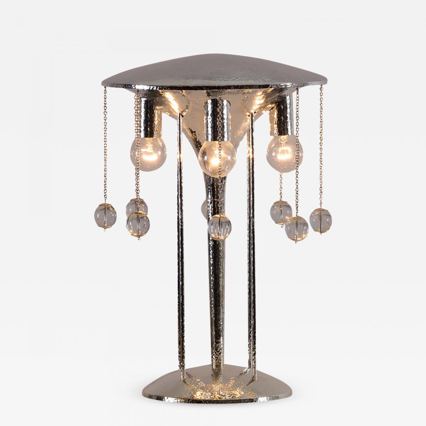 Josef Hoffmann Josef Hoffmann 1904 Hammered Table Lamp