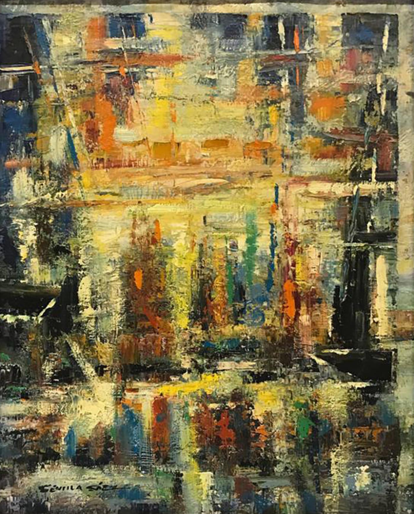 Juan Sevilla Saez - Rare Colorful Textured Abstract by Juan Sevilla Saez