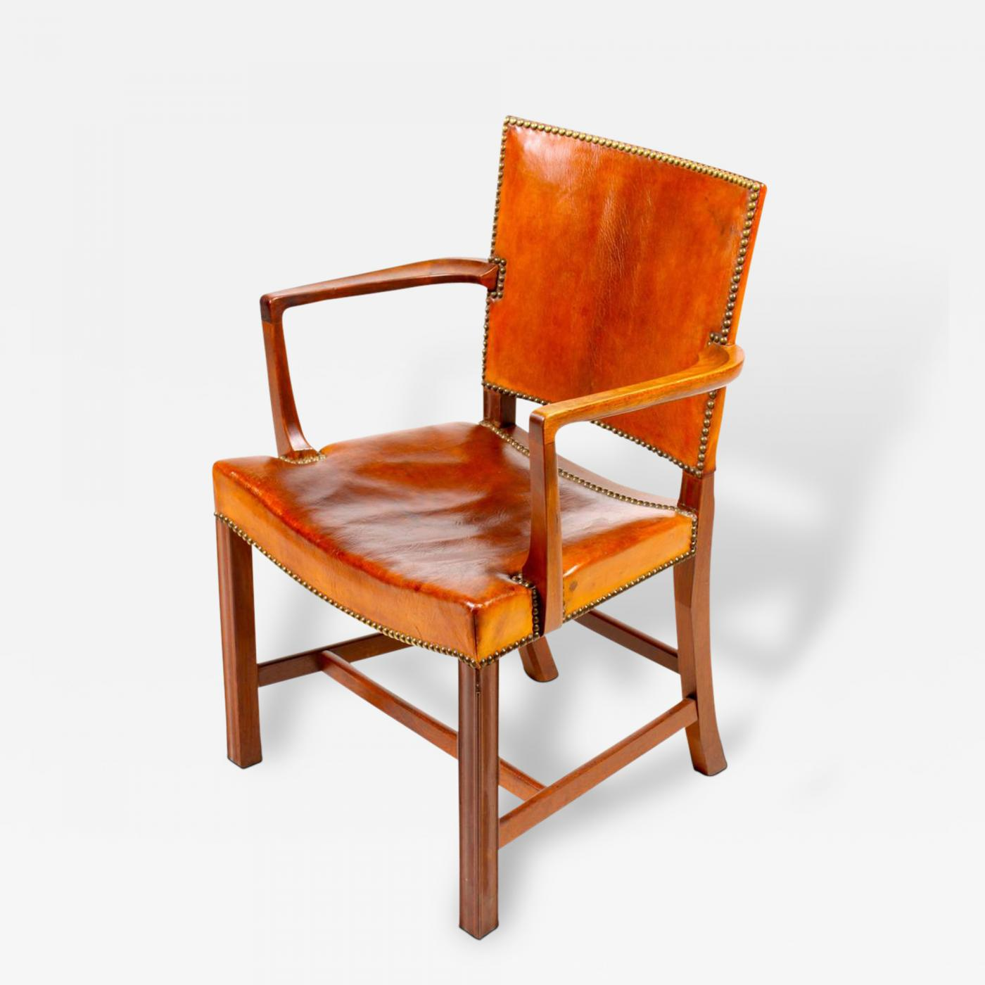 Kaare Klint Red Chair in Cuban Mahogany and Patnated Niger Leather