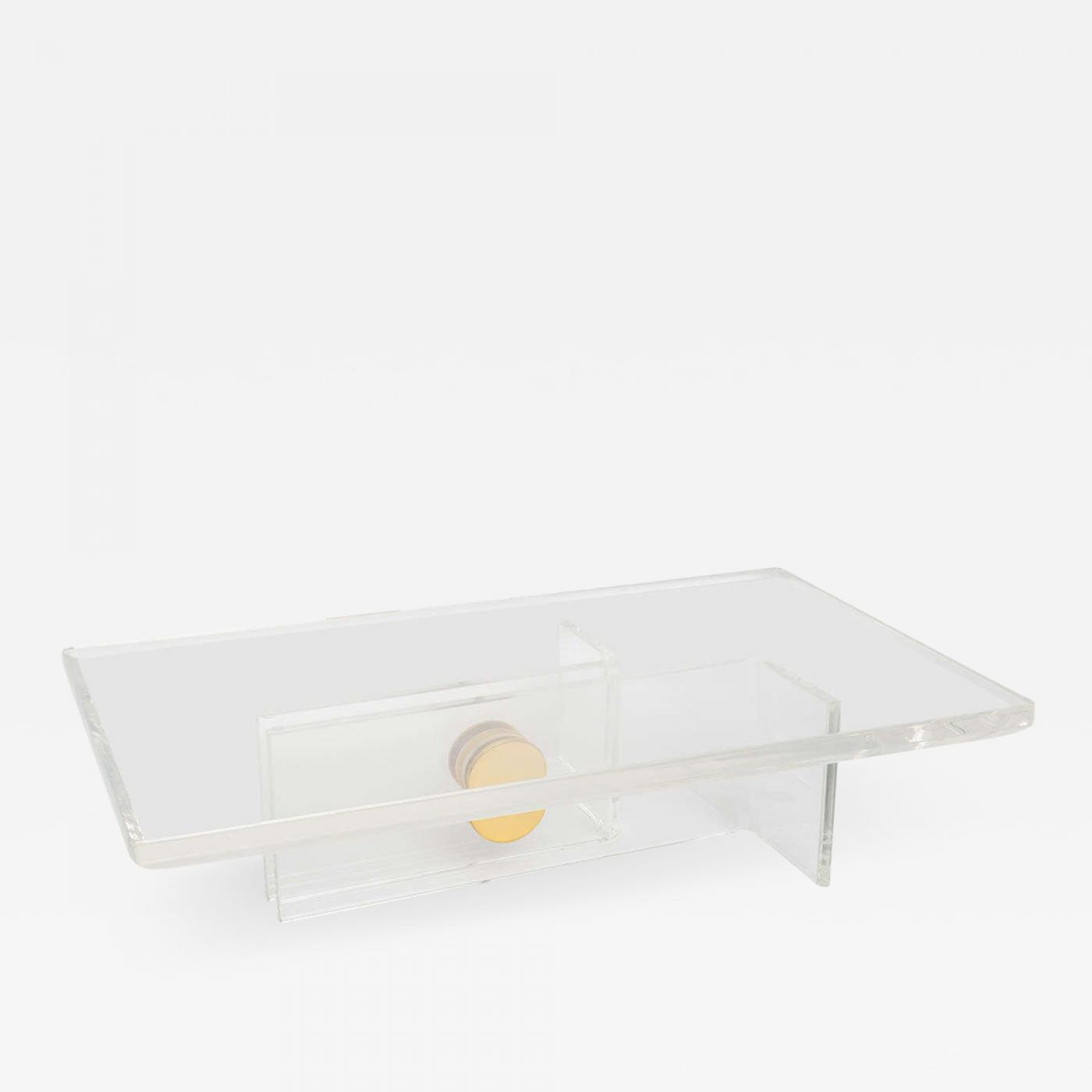 Karl Springer American Modern Lucite And Brass Cocktail Table