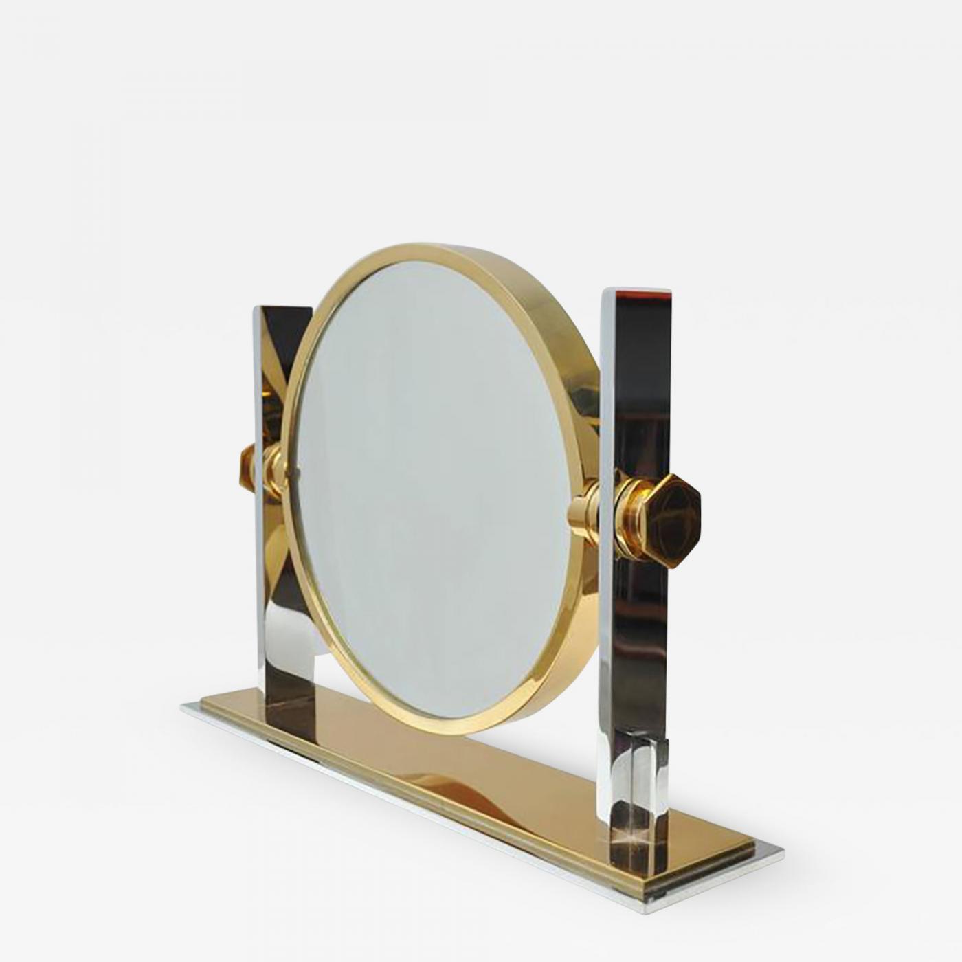 Karl Springer Karl Springer Chrome And Brass Vanity Mirror