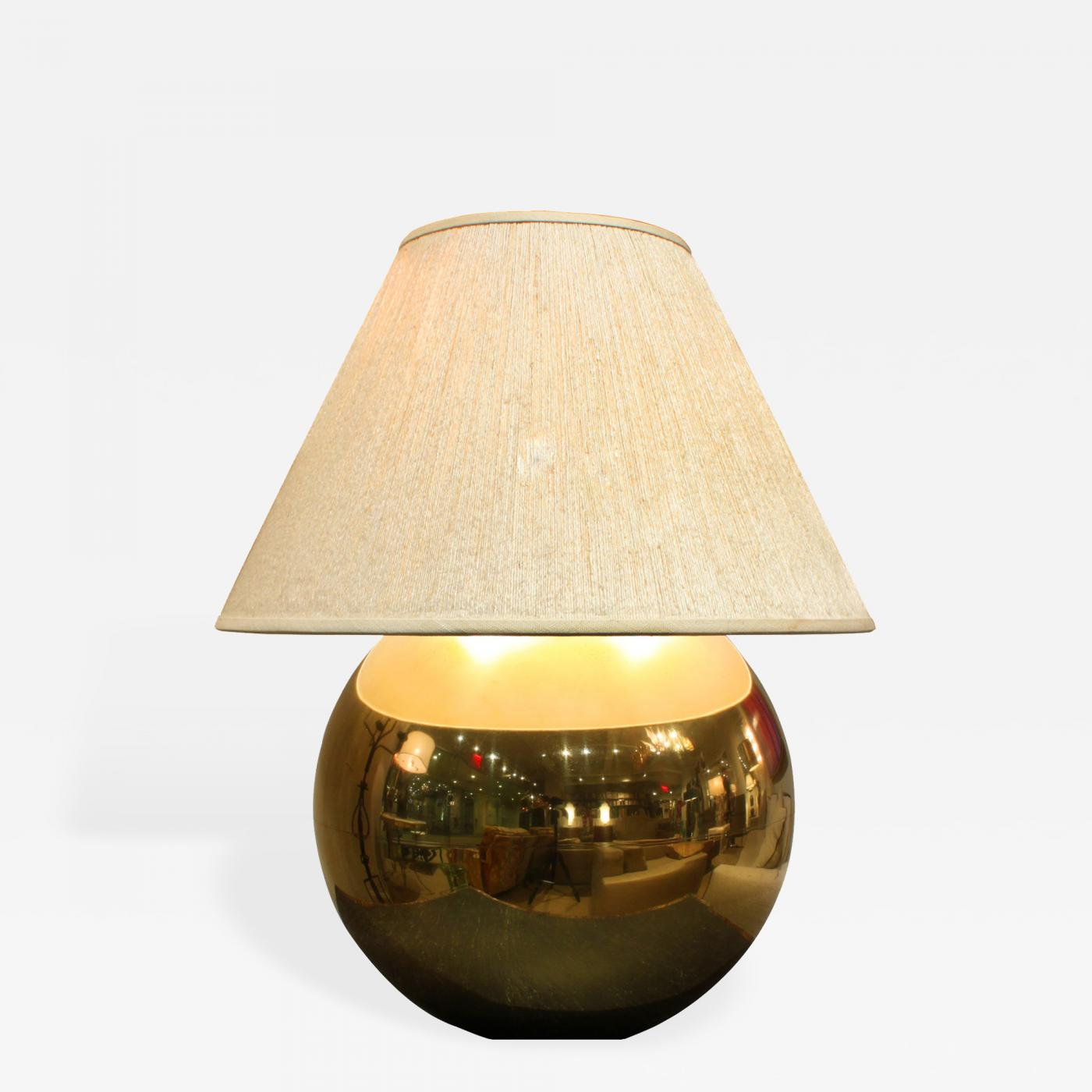 Karl Springer Metal Ball Lamp In Brass By Karl Springer 1980s