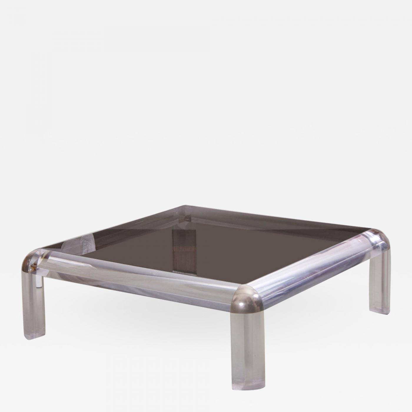 Attrayant Karl Springer Lucite Chrome And Smoked Glass Square Coffee Table Karl  Springer Style