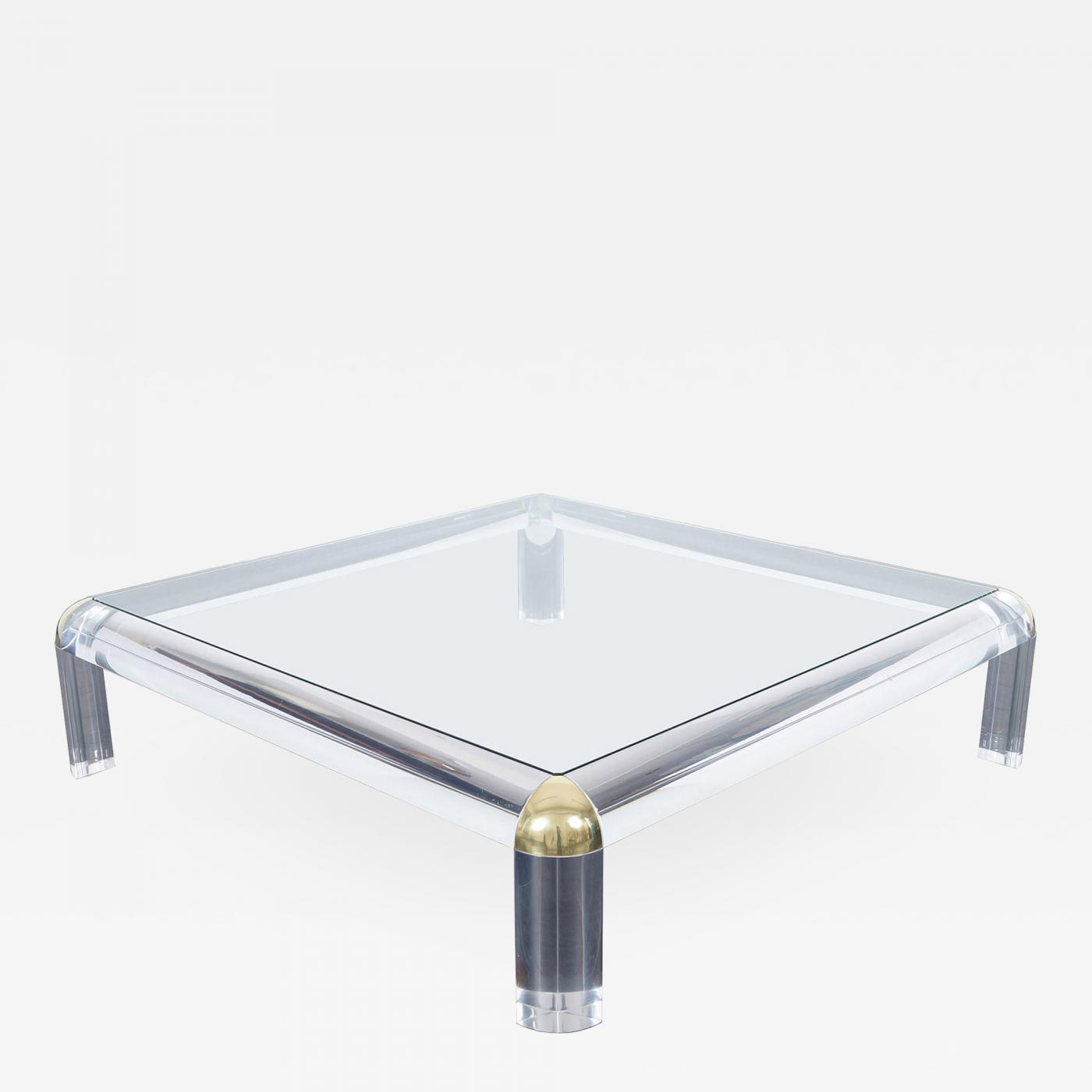 Karl springer monumental lucite brass coffee table for Lucite and brass coffee table