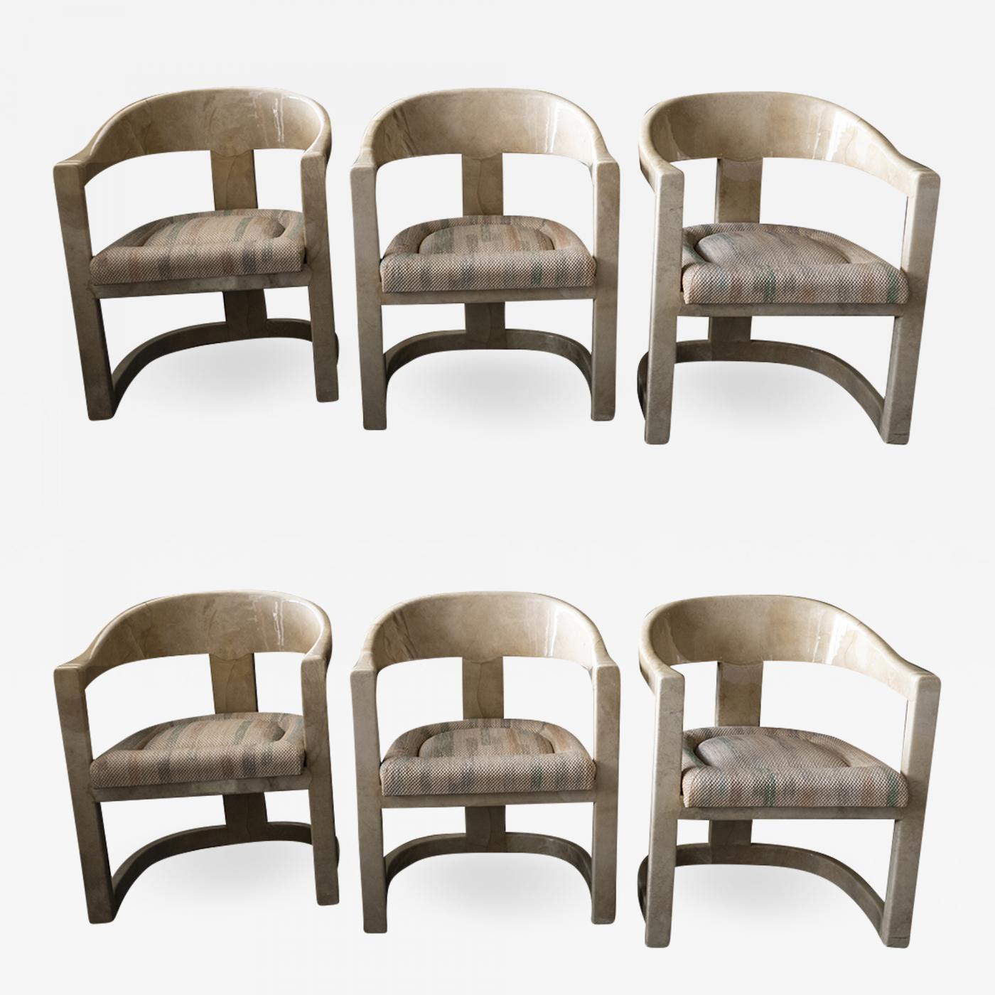 Surprising Karl Springer Set Of 6 American Modern Goatskin Onassis Chairs Download Free Architecture Designs Itiscsunscenecom