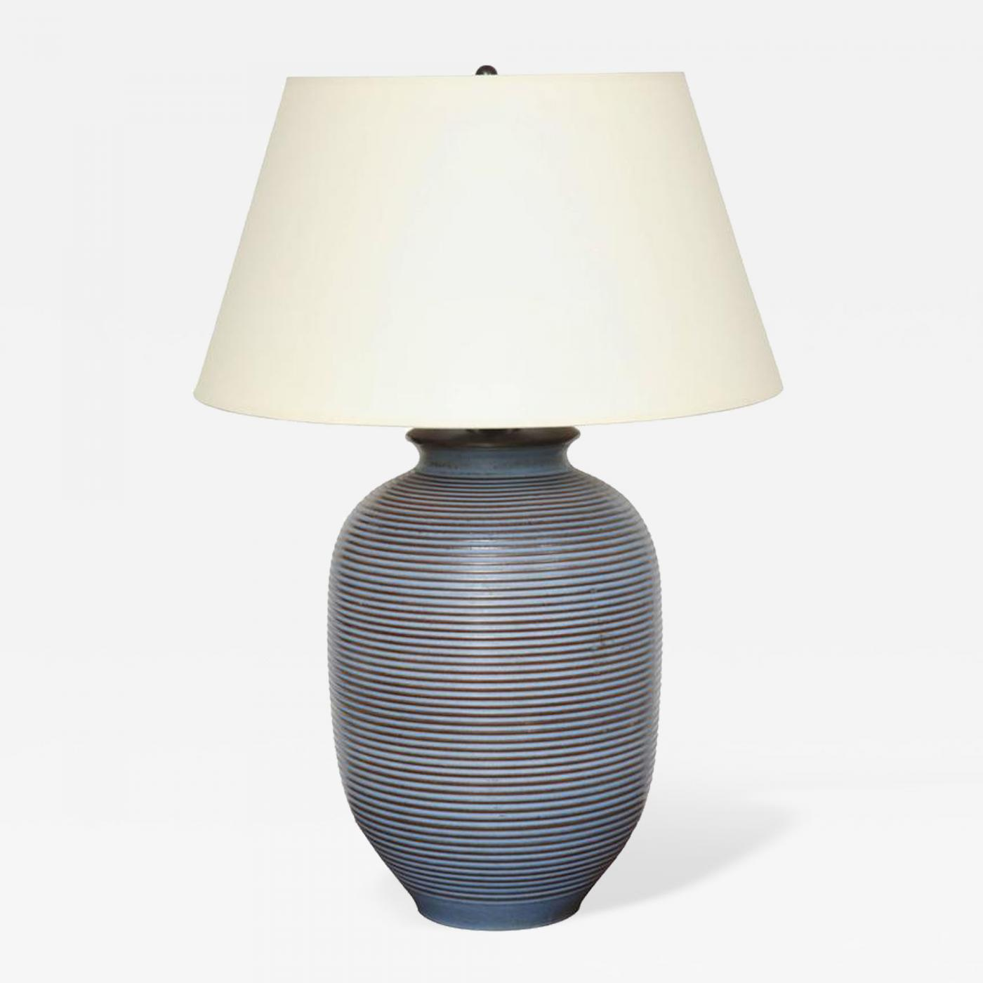 Large Blue And Brown Ceramic Table Lamp With Stripes