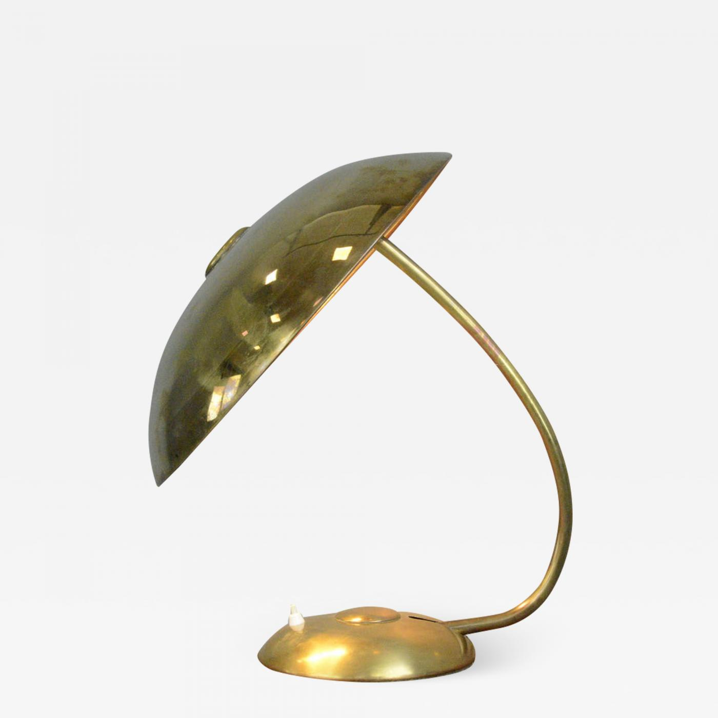 Large Copper Brass Table Lamp By Helo Circa 1950s